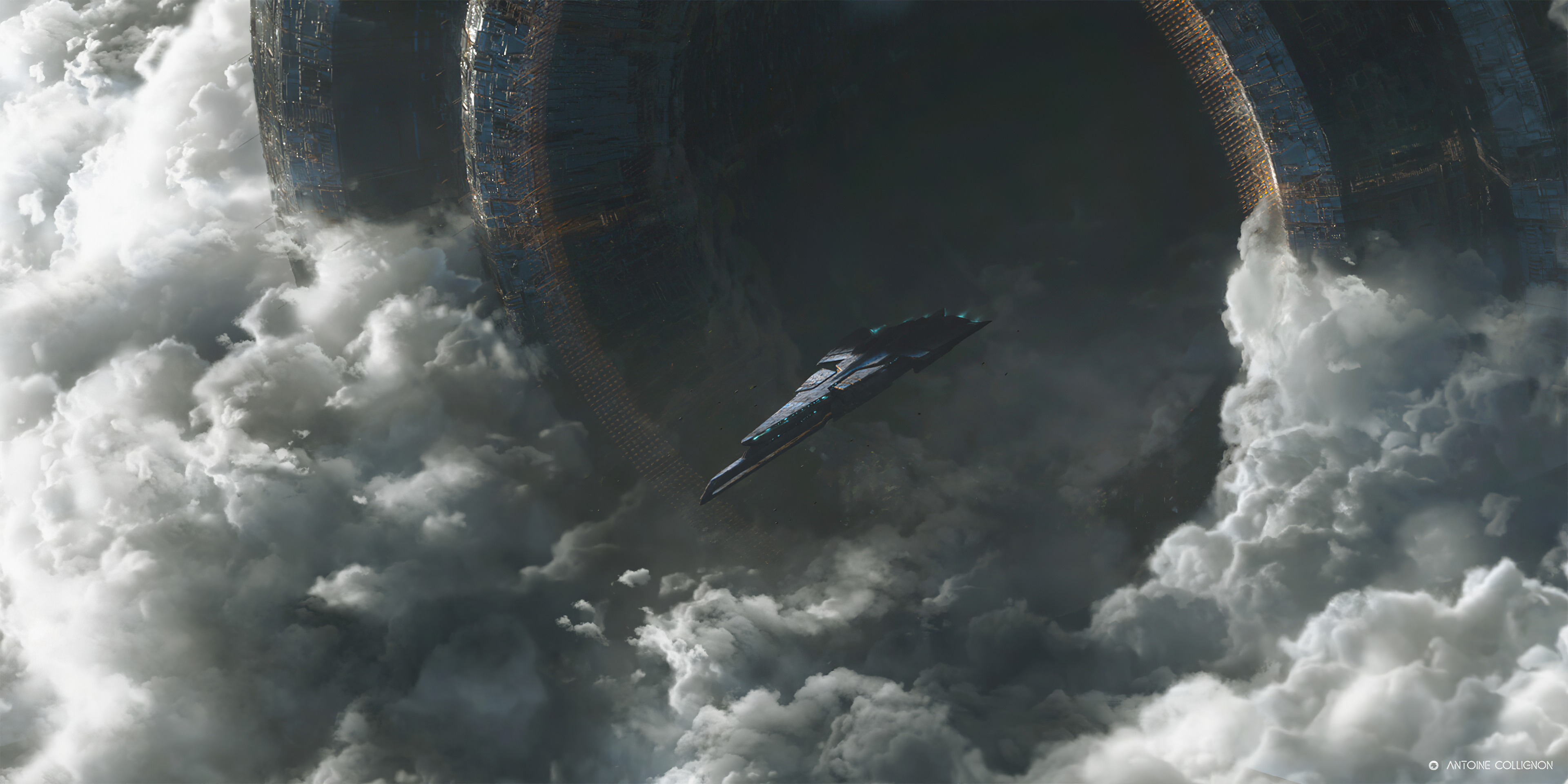 General 3840x1920 Antoine Collignon spaceship clouds debris gates
