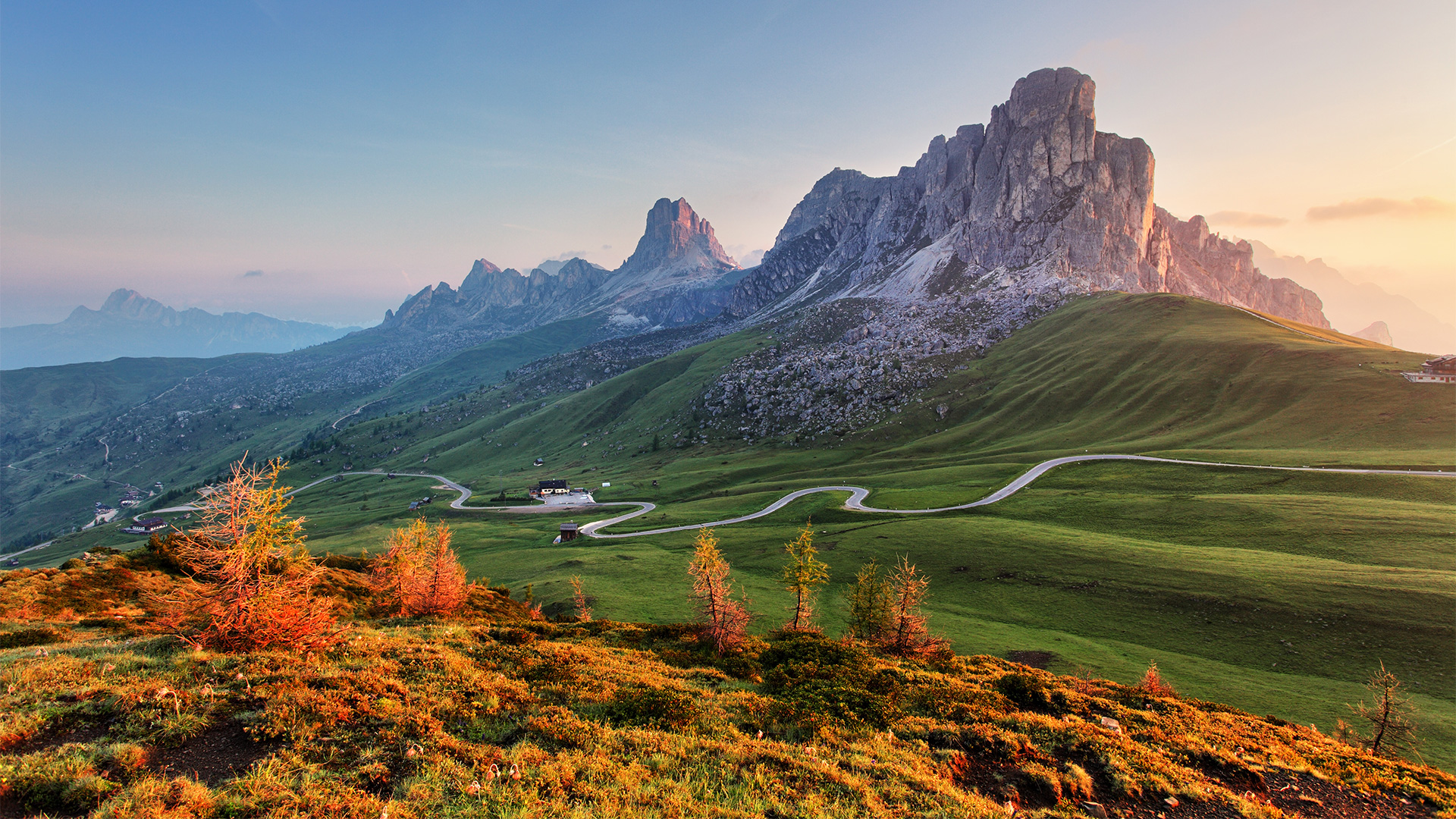 General 1920x1080 nature landscape hairpin turns trees house road grass field sky clouds mountains dolomite alps Dolomites (mountains) Italy Alps