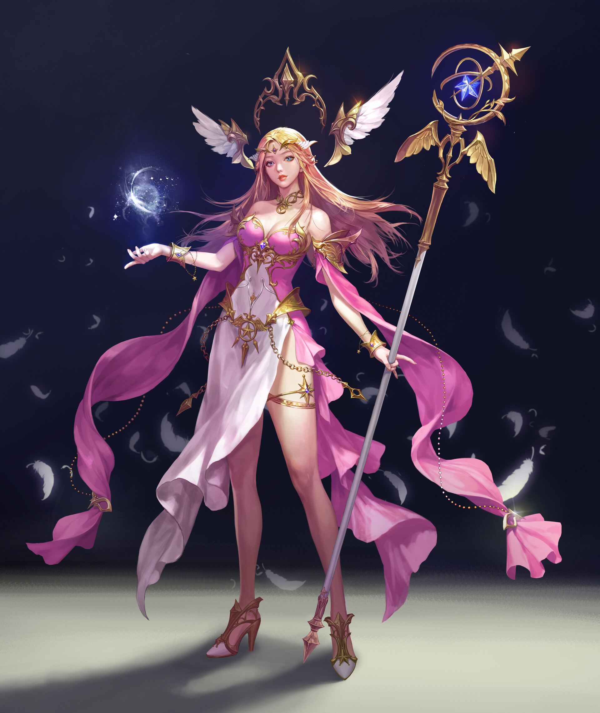 General 1920x2283 Minsook An drawing women blonde long hair straight hair wind tiaras hair accessories wings crown dress pink clothing magician feathers staff spell shoes high heels gold looking at viewer blue eyes