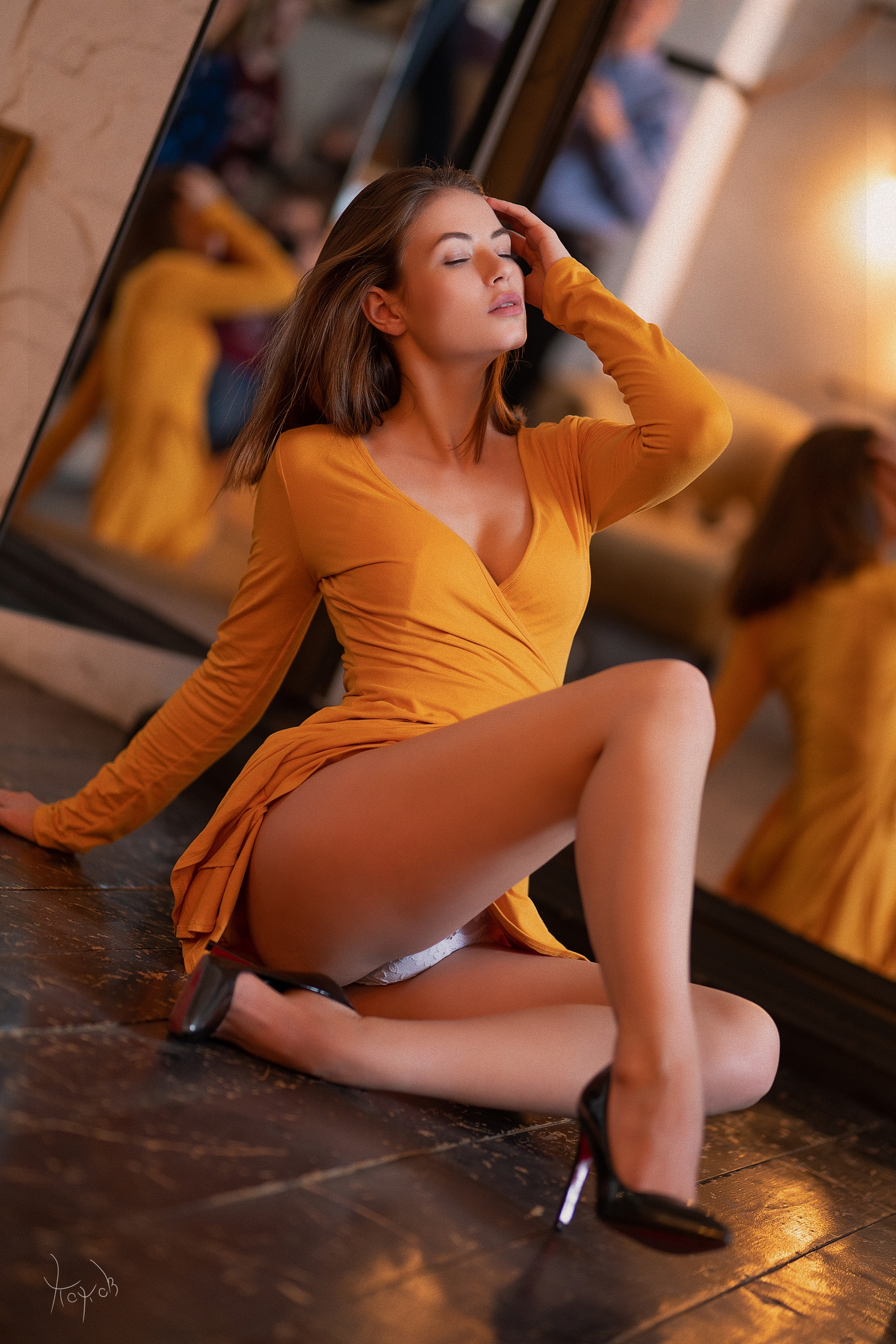 People 1441x2160 Andrey Popov women Viktoriia Aliko brunette long hair straight hair makeup closed eyes dress orange clothing cleavage lingerie panties shoes high heels depth of field mirror reflection Studio model white panties wooden floor upskirt