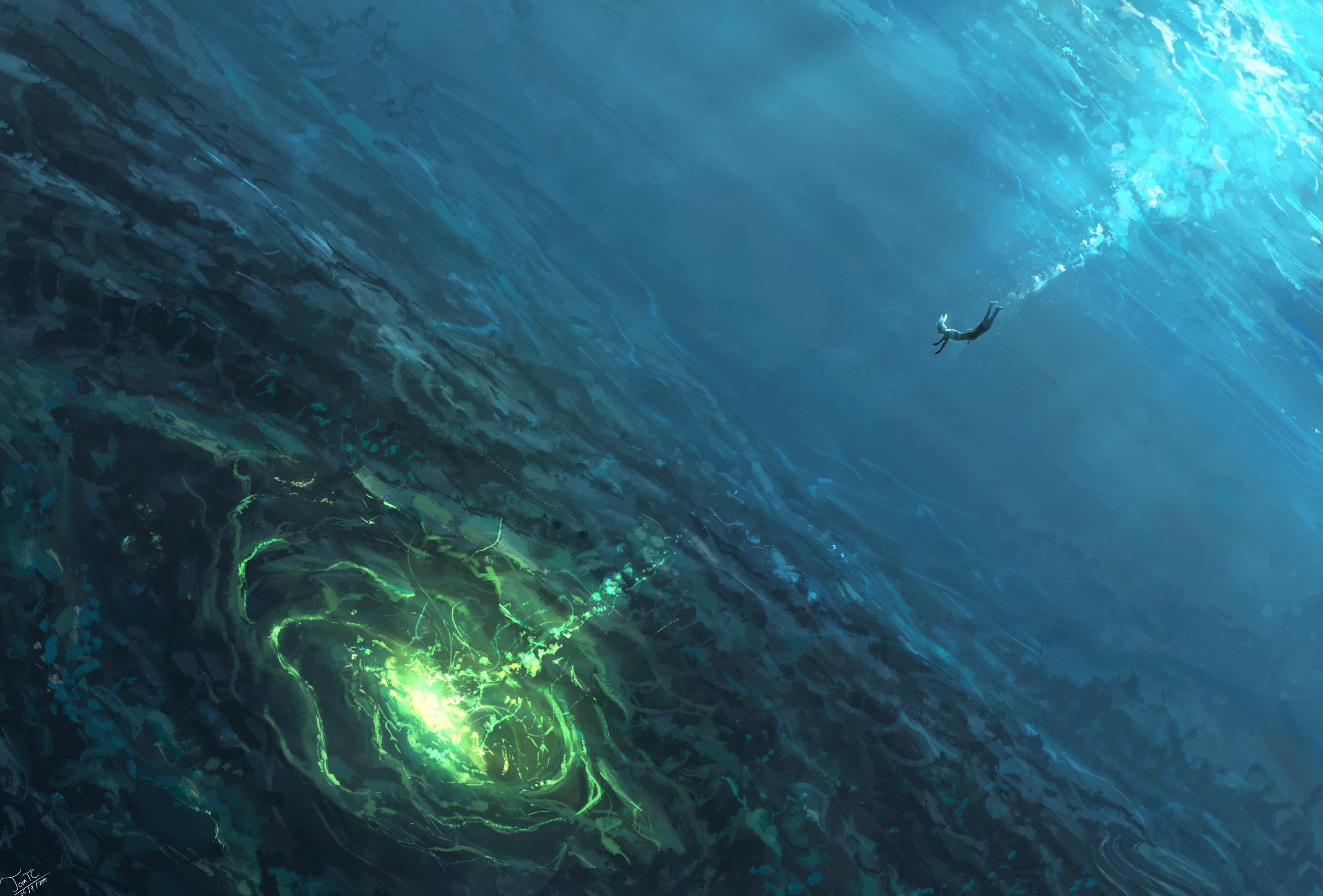 General 2895x1961 digital digital art artwork fantasy art landscape drawing digital painting rabbits water underwater sea blue green abyss diving deep sea
