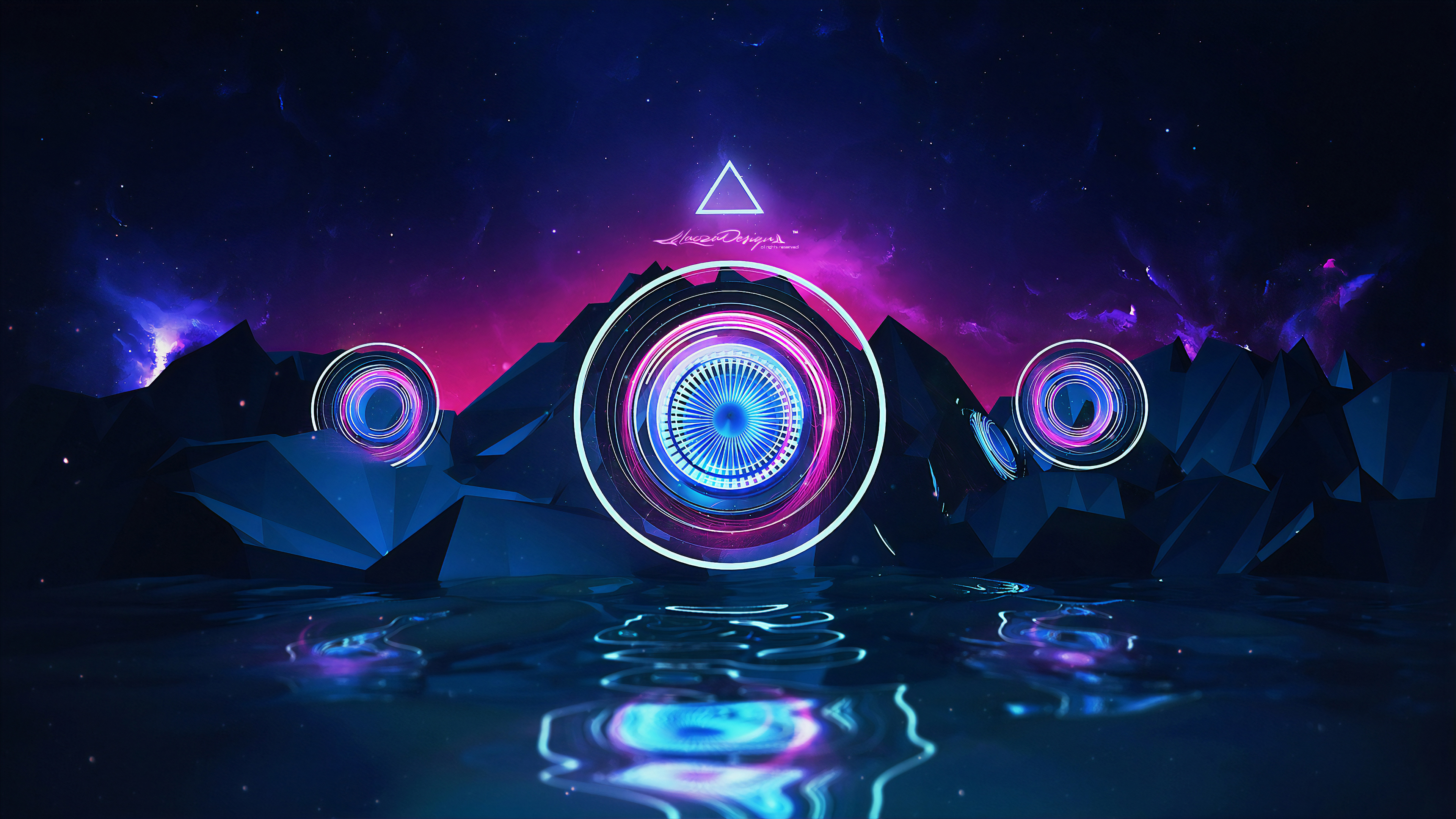 General 3840x2160 digital digital art artwork fantasy art abstract 3D Abstract neon neon lights lights futuristic geometric figures geometry space galaxy universe spacescapes space art landscape Lacza colorful glowing 3D water sea reflection surreal dark dusk