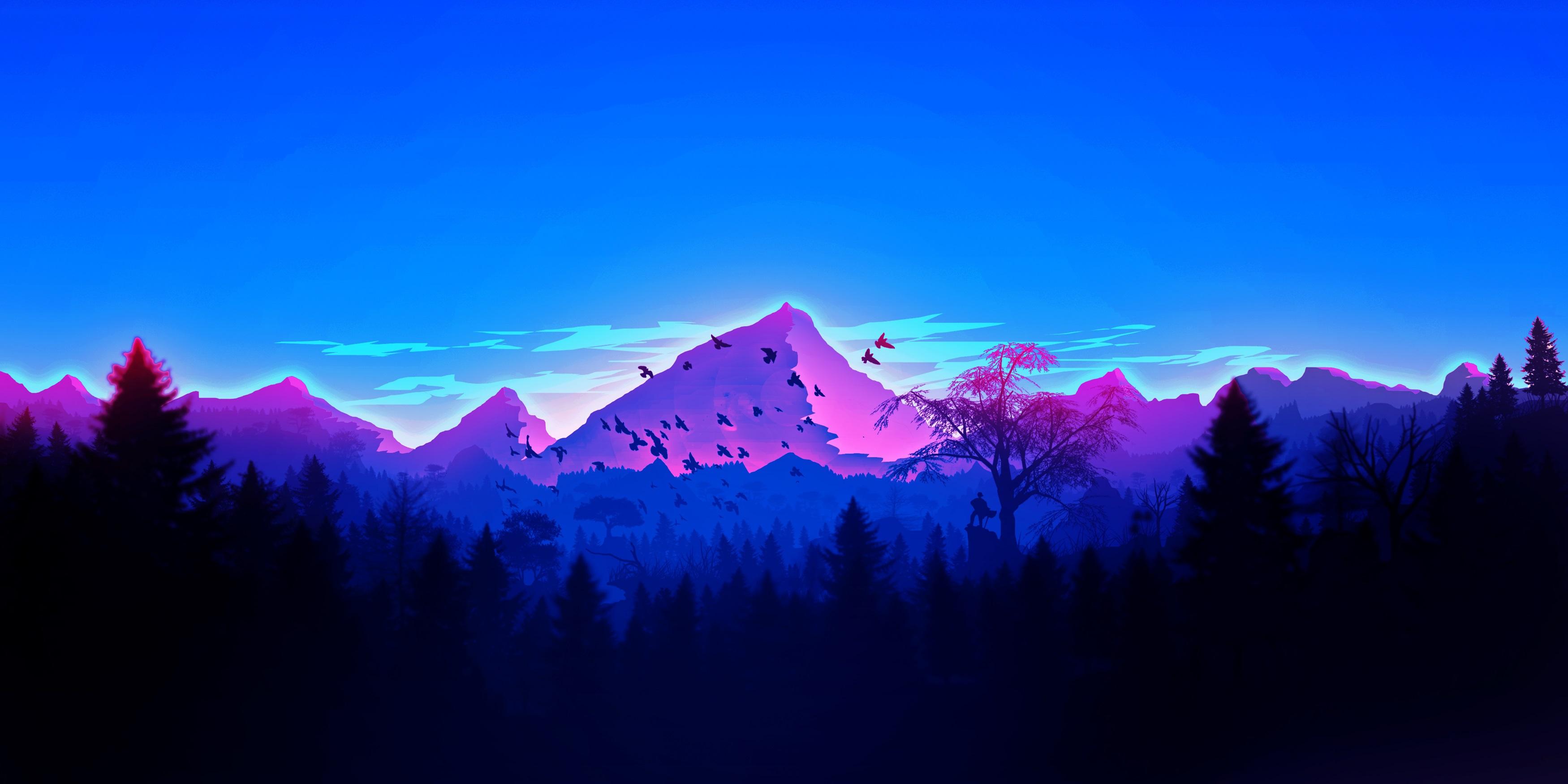 General 3500x1750 artwork landscape mountains forest minimalism vaporwave blue ultrawide