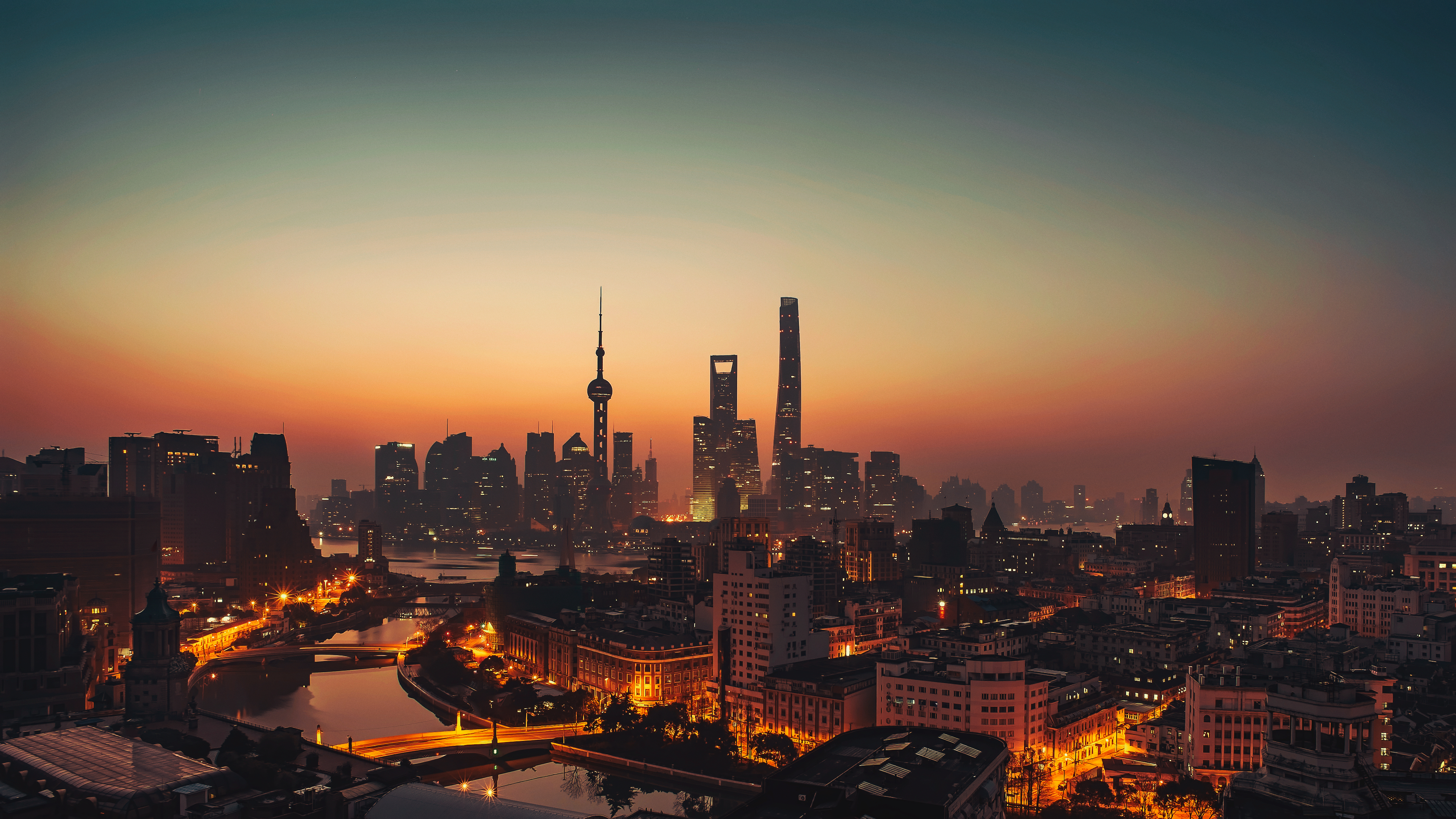 General 3840x2160 cityscape city sunlight sunset photography architecture Shanghai orange sky skyscraper city lights