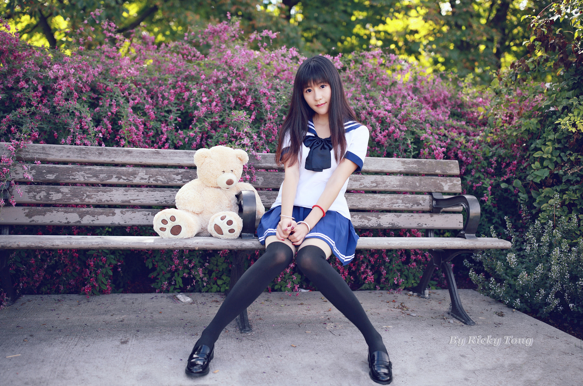 People 2048x1355 women model brunette looking at viewer thigh-highs knee-highs stockings depth of field Asian school uniform teddy bears bench