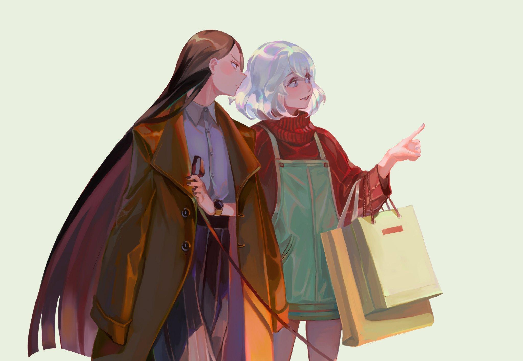 Anime 2048x1412 Houseki no kuni  jewels Diamond (Houseki no Kuni) Bort (Houseki no Kuni) long hair black hair short hair 2D simple background