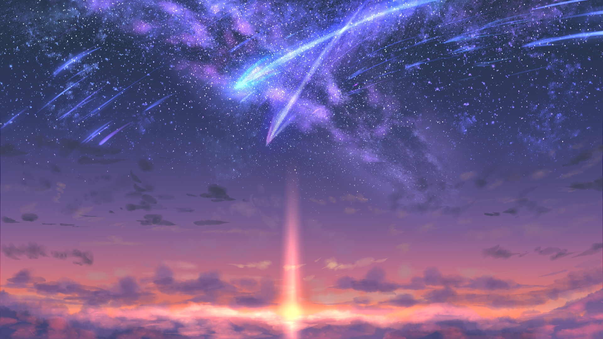 Anime 1920x1080 meteors space sunset clouds stars galaxy artwork sky Kimi no Na Wa