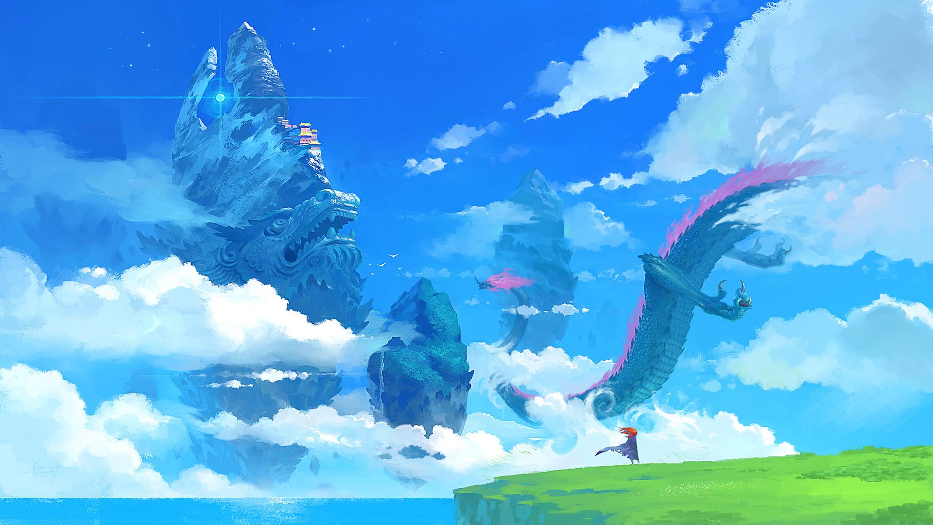 General 1920x1081 Yiming Nie digital art fantasy art clouds dragon Asian architecture