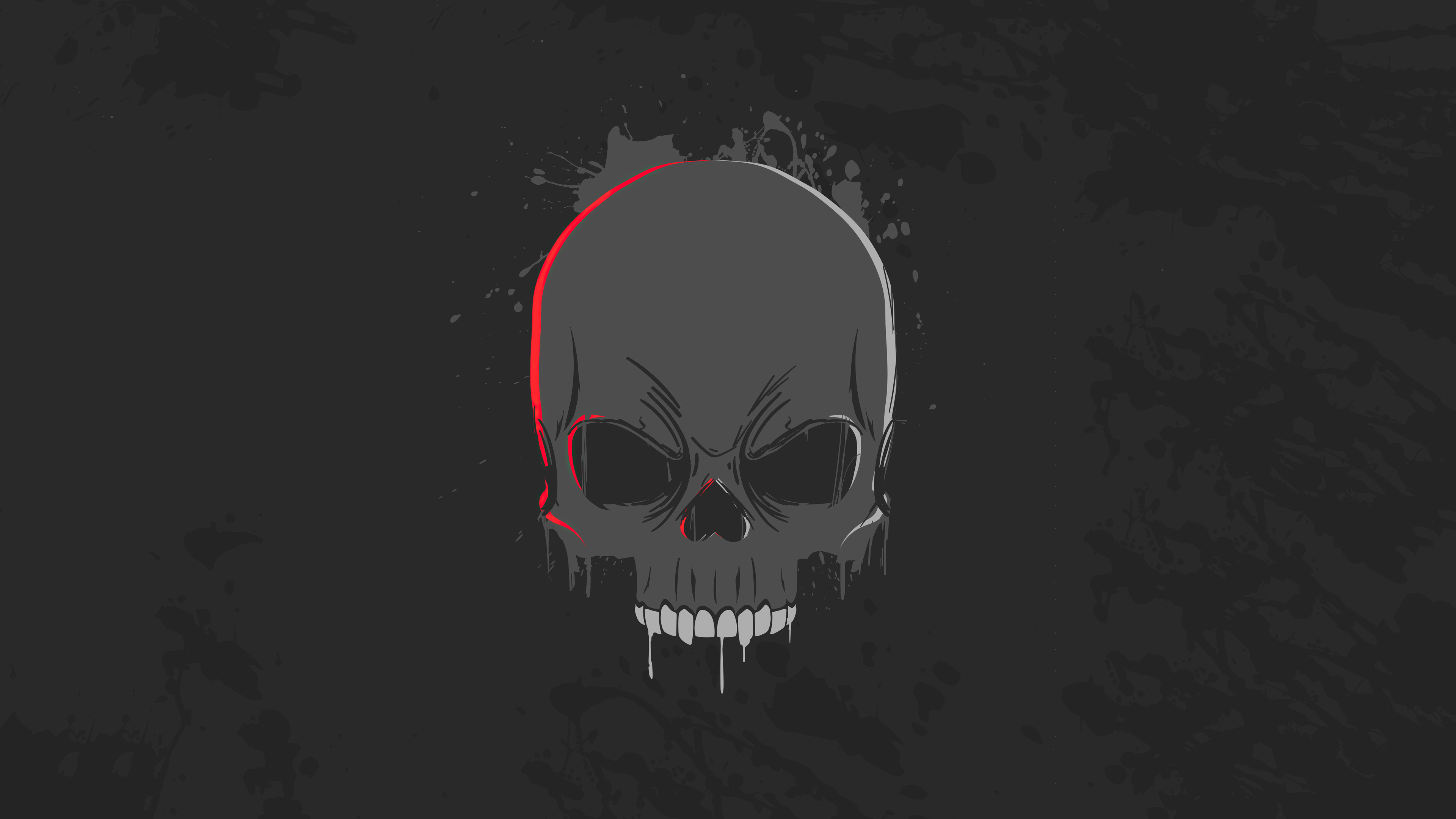 General 3840x2160 skull dark minimalism 4K artwork digital art black