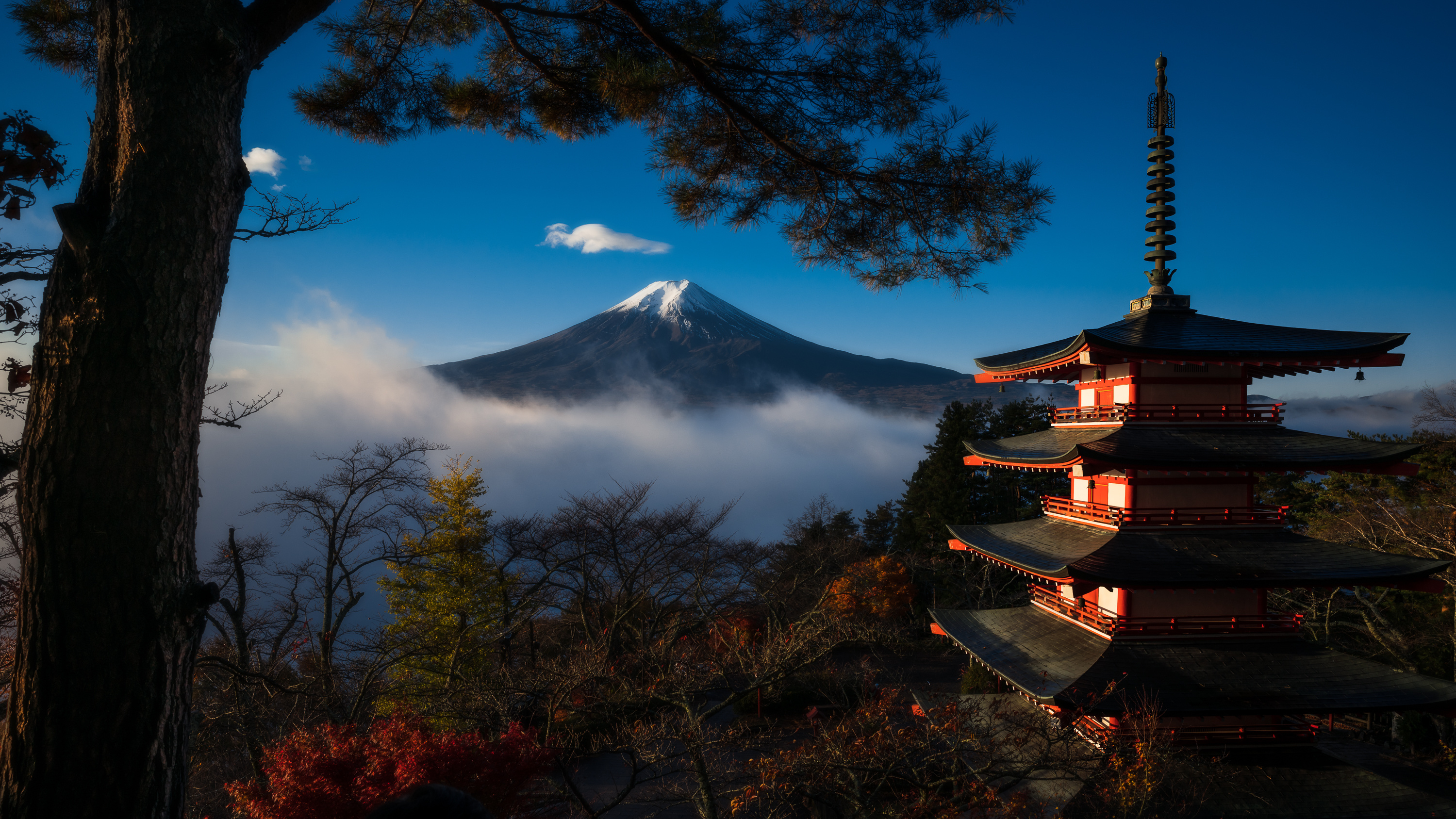 General 3000x1688 nature landscape Japan pagoda mountains Mount Fuji trees