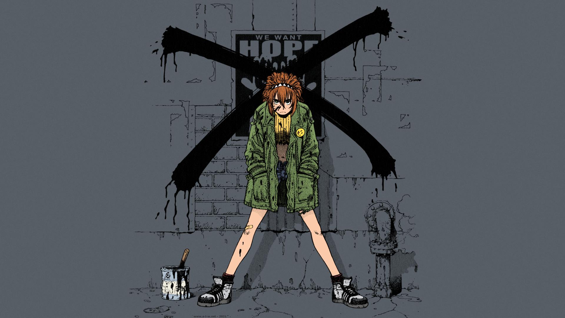 Anime 1920x1080 GUNNM Battle Angel Alita Alita: Battle Angel Koyomi redhead short pants angry short hair anime manga anime girls tomboys