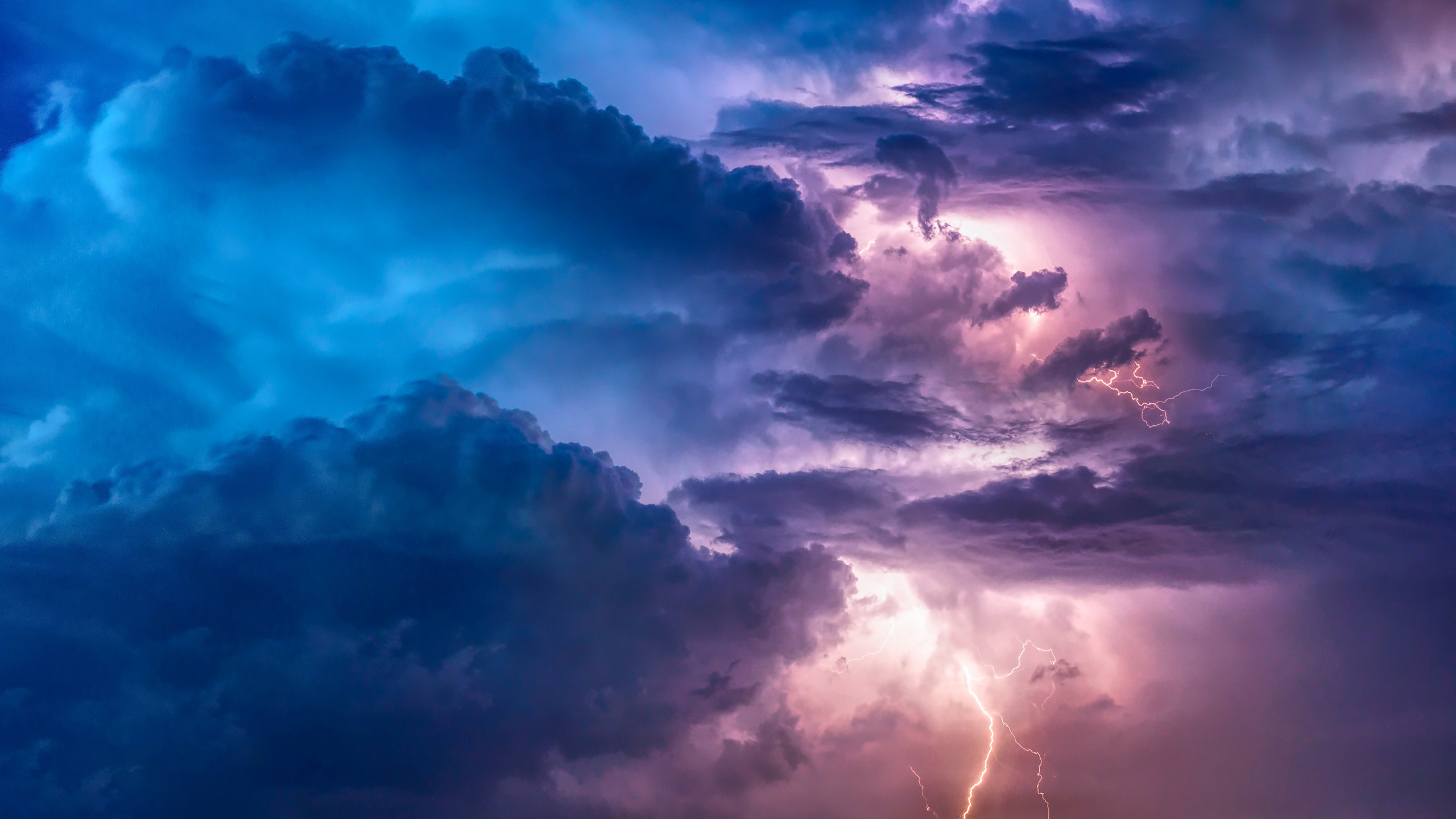 General 2560x1440 clouds storm lightning nature sky Time-lapse