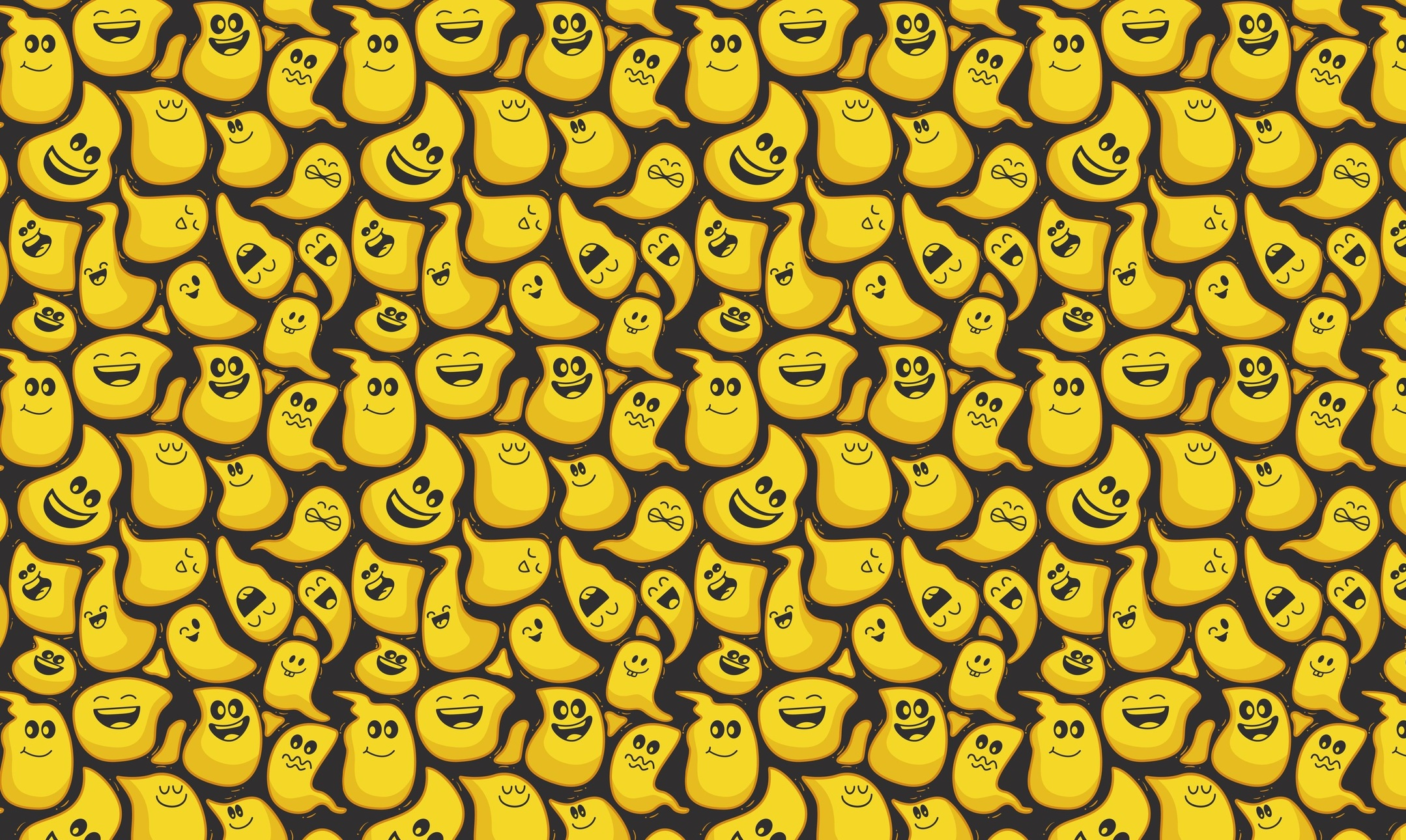General 2158x1290 Halloween ghosts pattern yellow