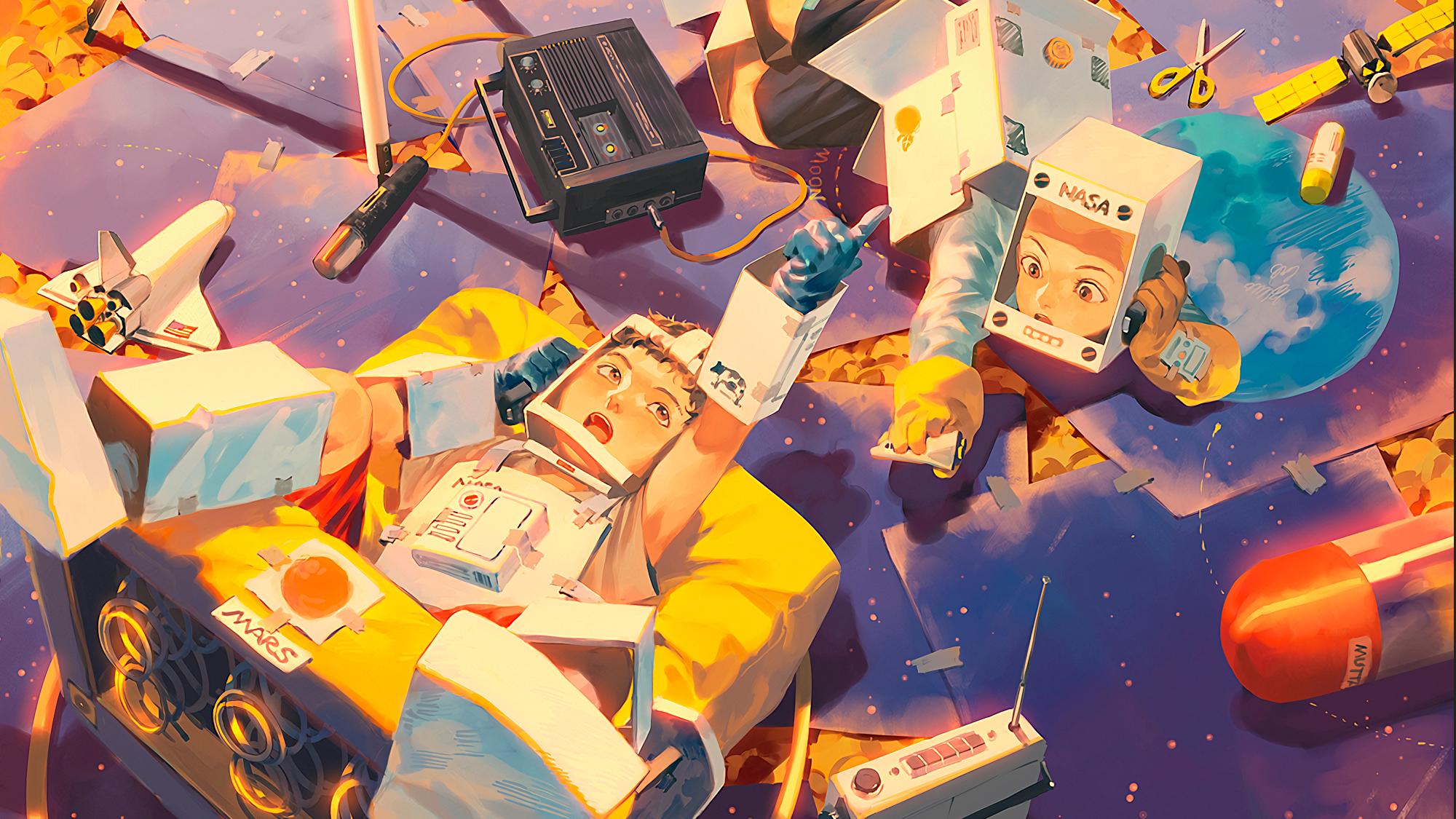 General 2000x1125 astronaut playing children space digital art artwork