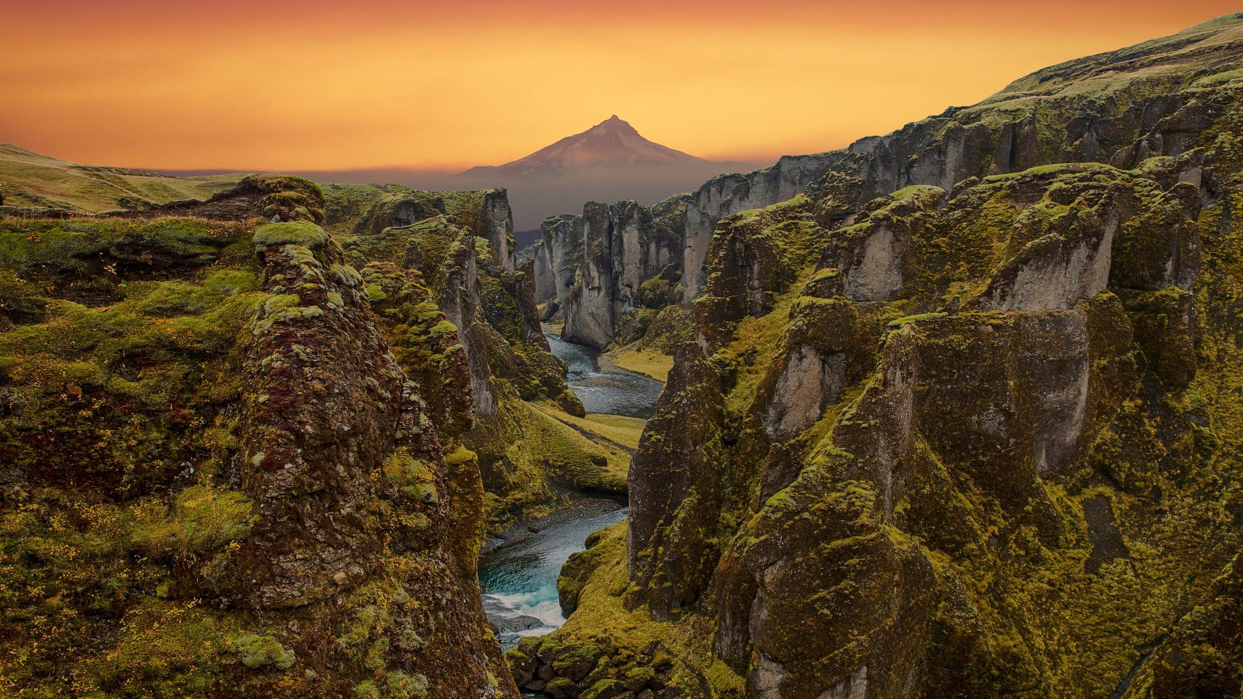 General 2560x1440 nature landscape river mountains sunset