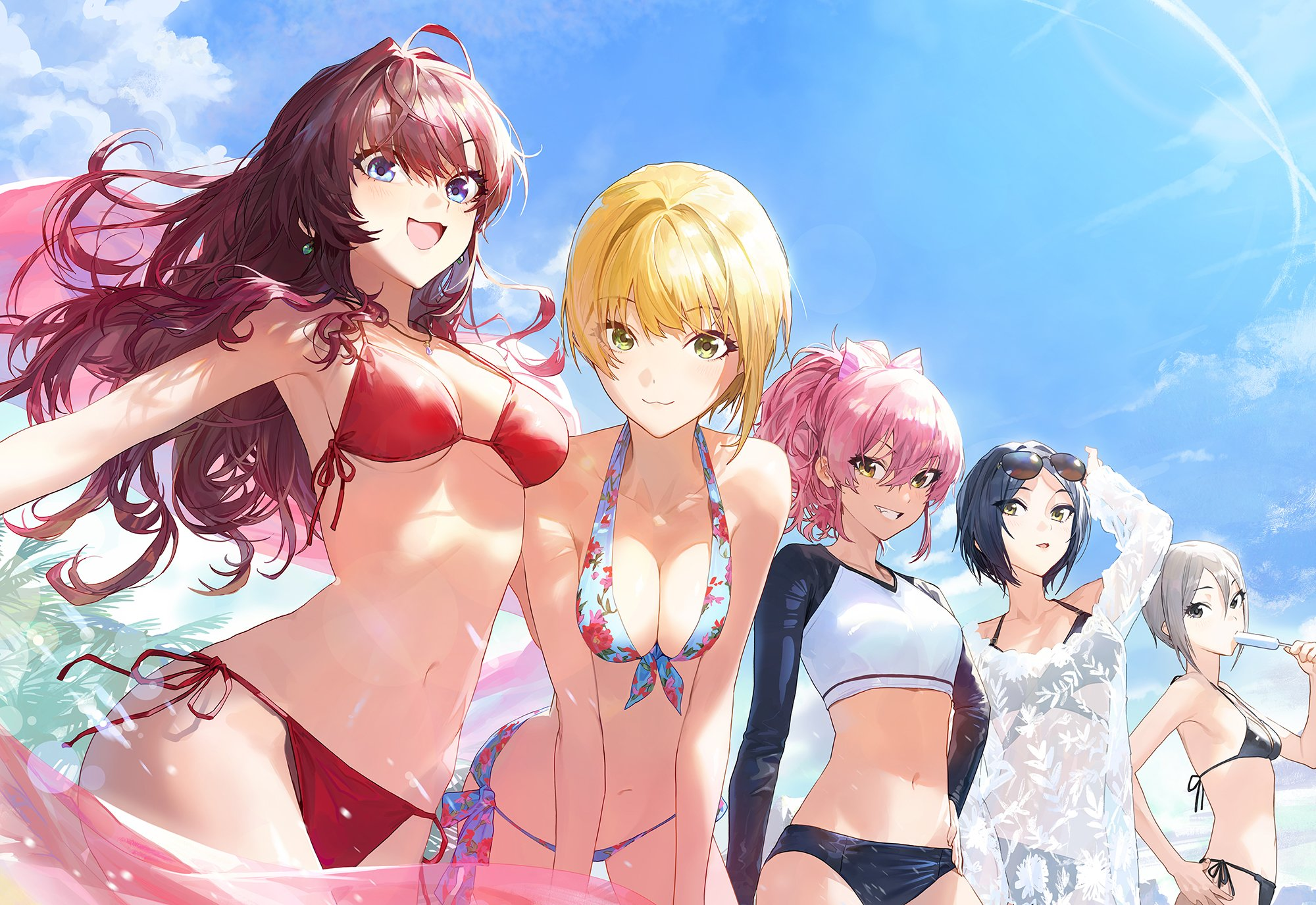 Anime 2000x1375 anime anime girls boobs bikini blonde redhead pink hair THE iDOLM@STER: Cinderella Girls Shiki Ichinose