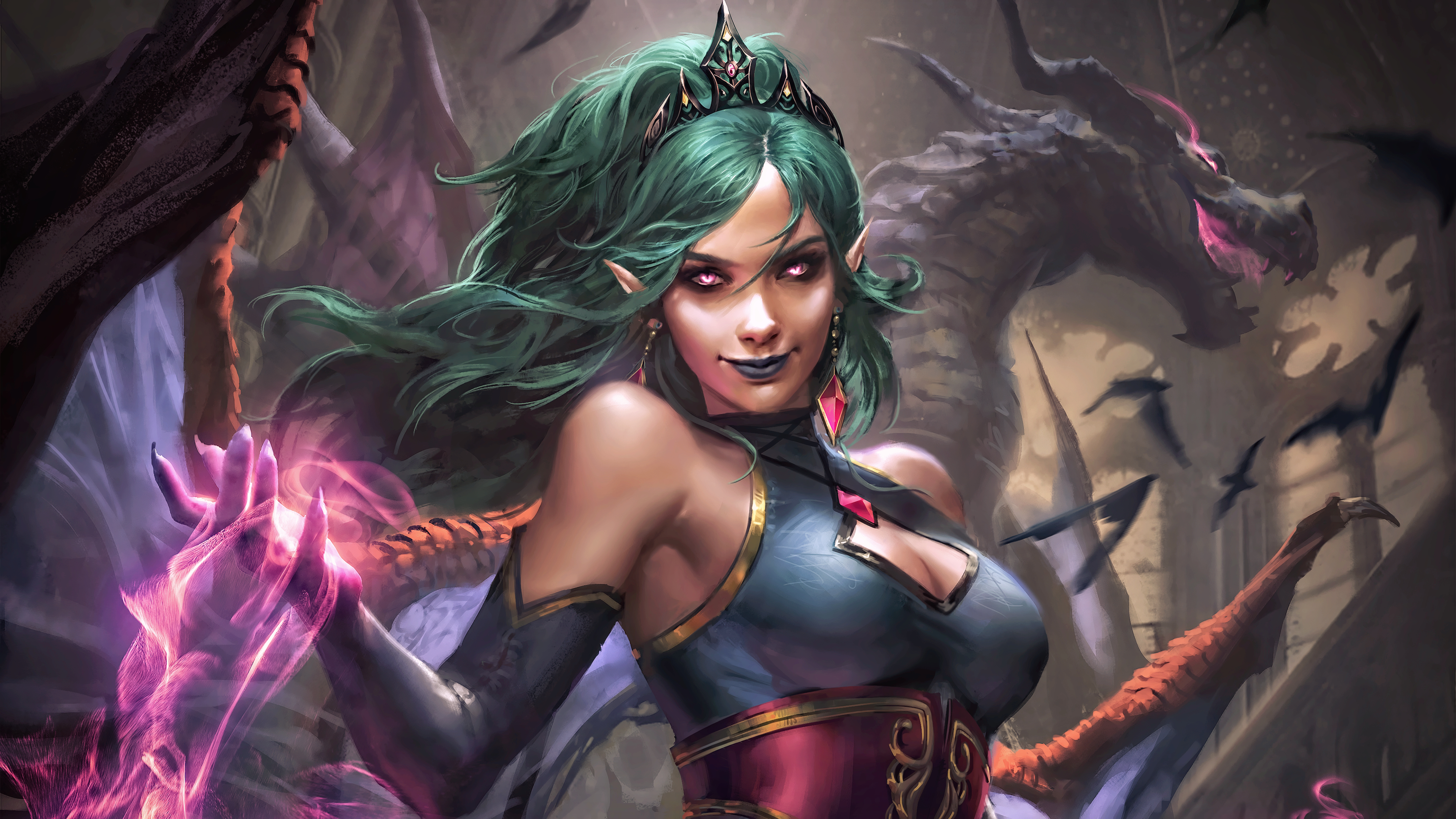 General 3840x2160 digital art concept art artwork fantasy art fan art fantasy girl women painting vampires creature dragon