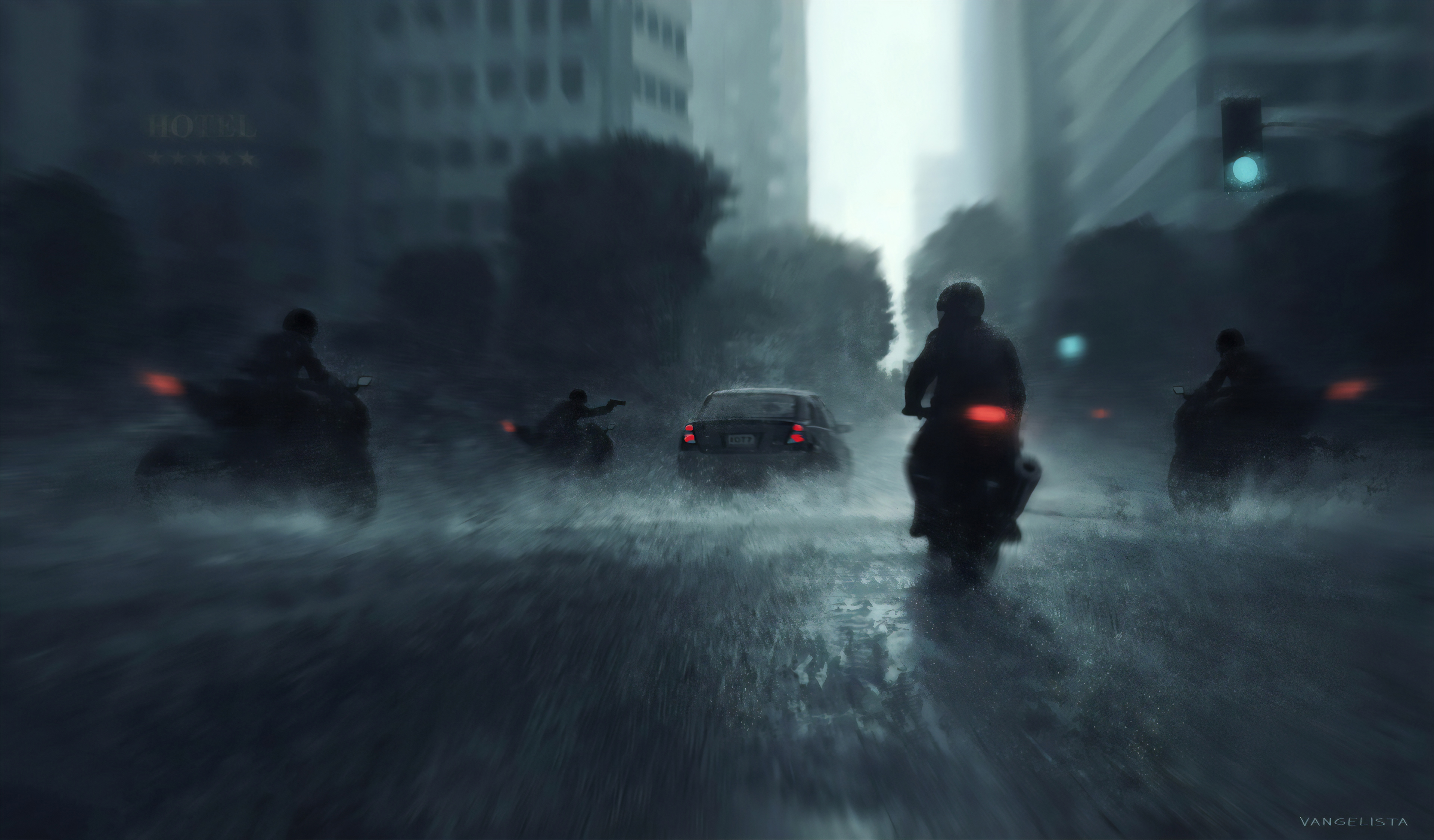 General 3840x2250 digital digital art artwork illustration concept art city city lights vehicle car motorcycle motorcyclist pistol silhouette architecture building trees rain cityscape lights urban street street light traffic lights