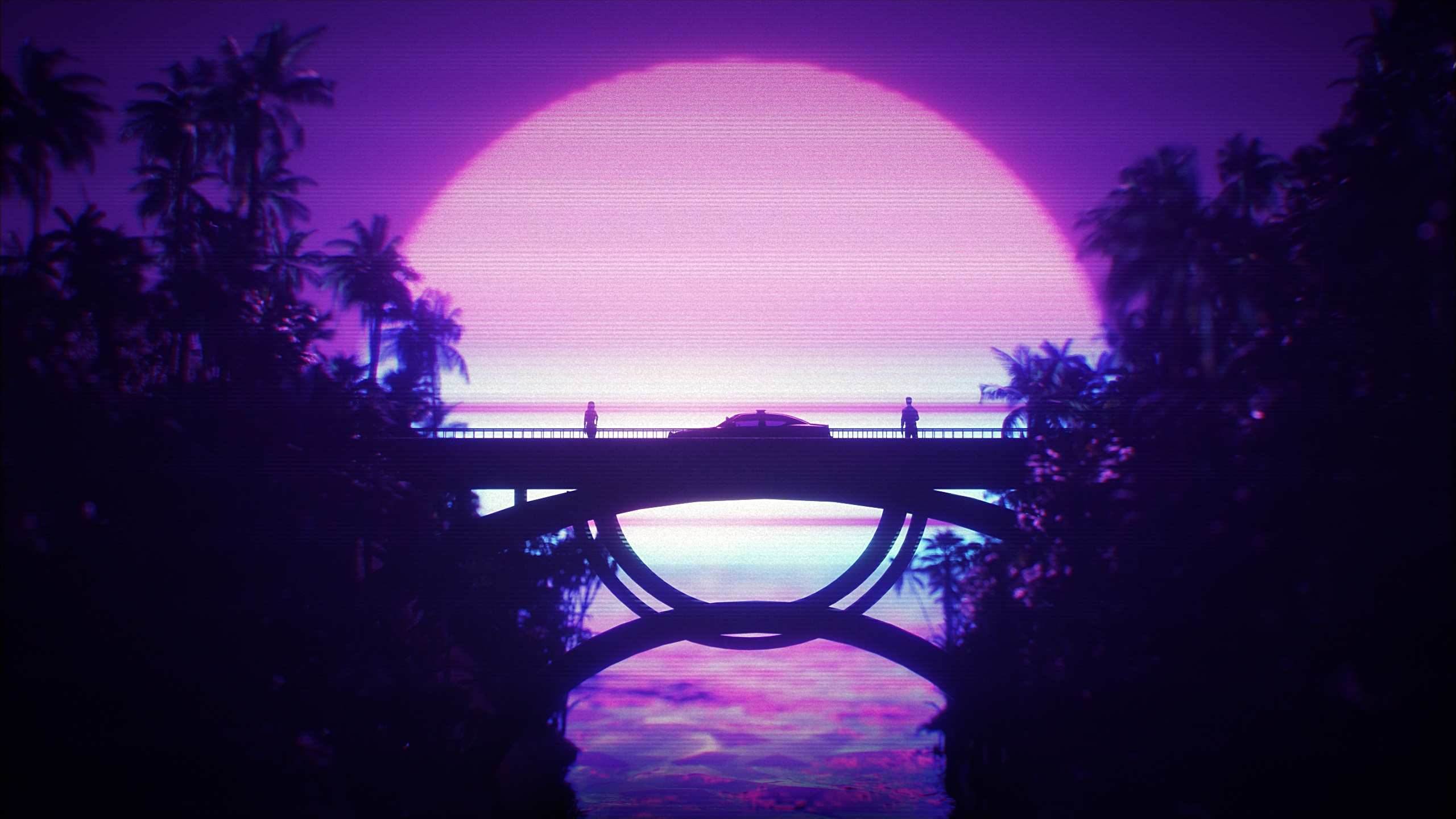 General 2560x1440 digital digital art artwork illustration Retrowave vaporwave synthwave dark Sun dusk sunset silhouette people palm trees bridge car vehicle transport purple pink purple background 1980s 80s nature landscape neon