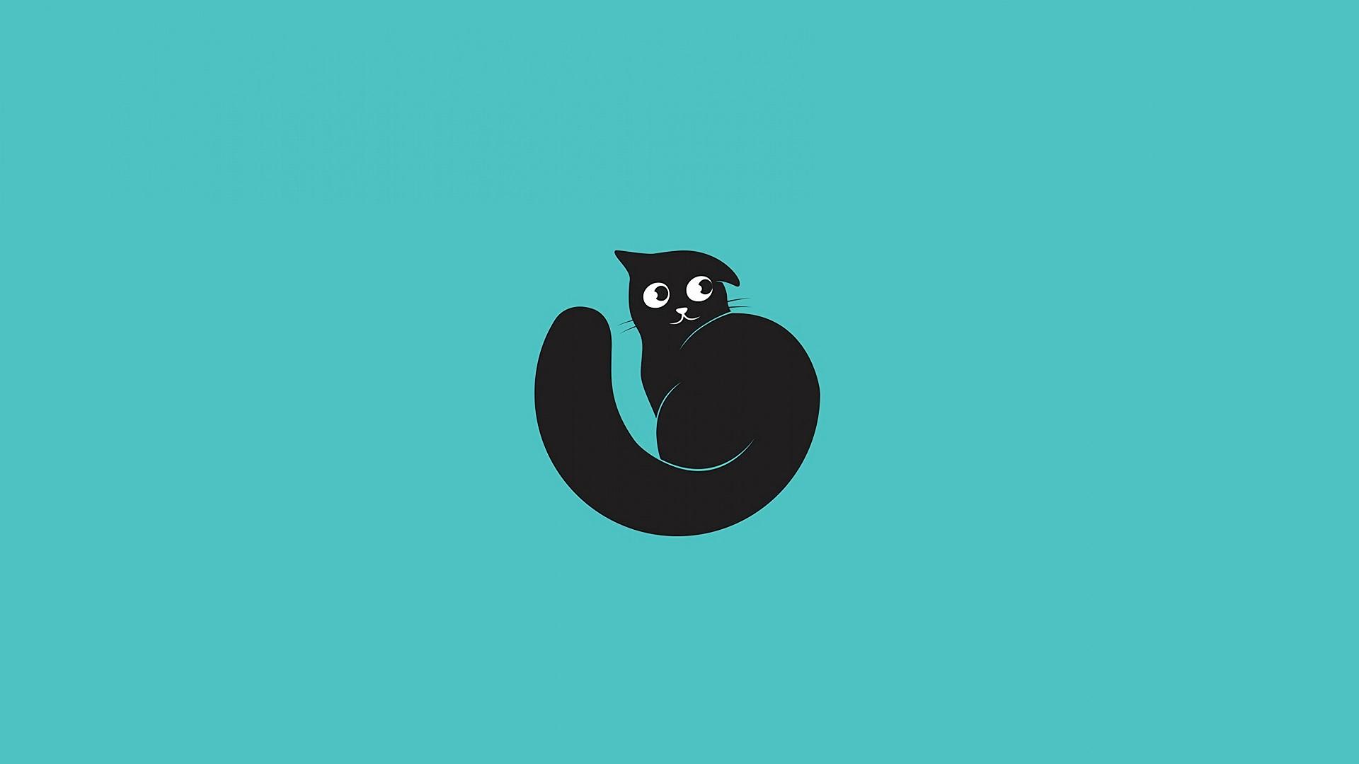 General 1920x1080 cats animals minimalism Black Cat black cats cyan cyan background