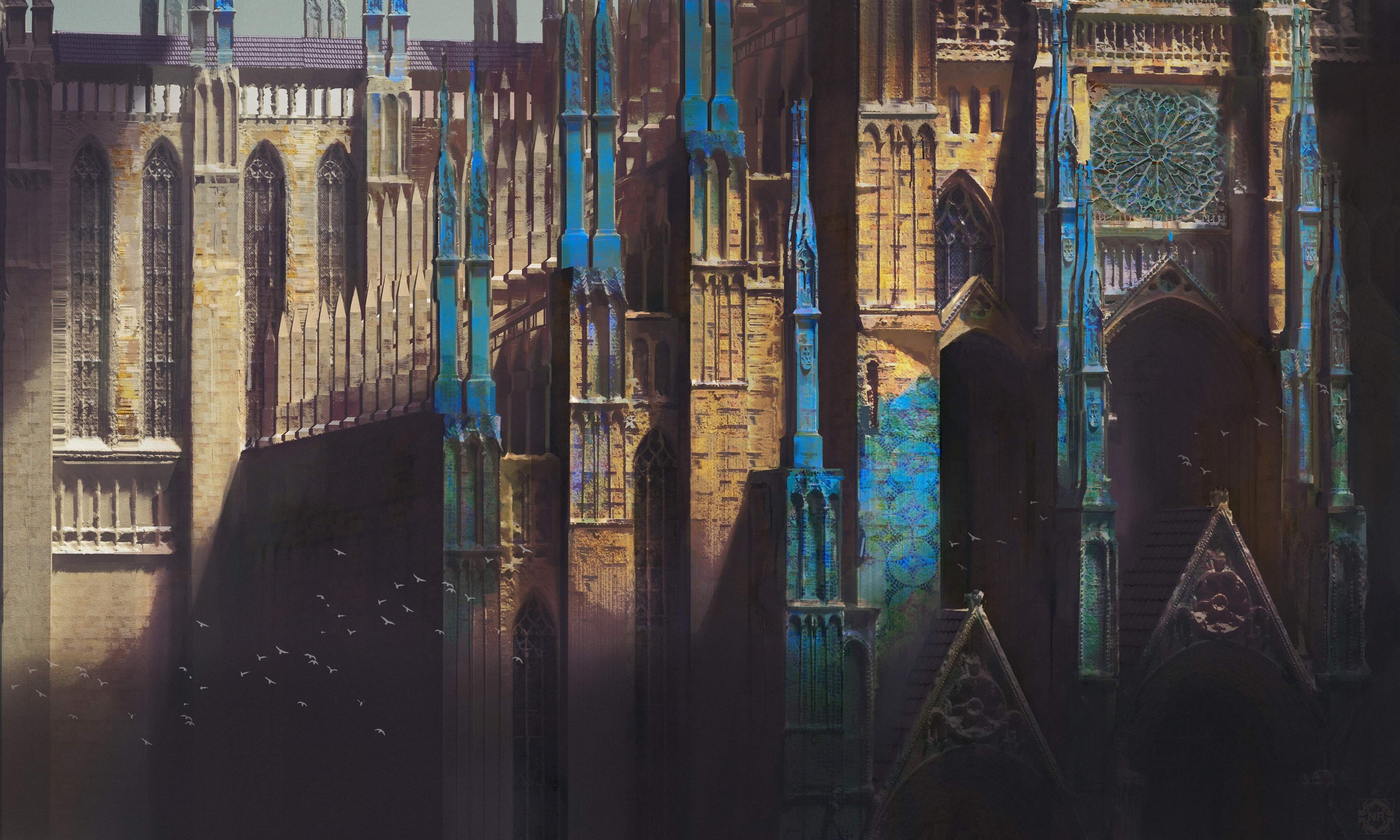 General 3840x2304 artwork digital art castle fantasy architecture cathedral fantasy art