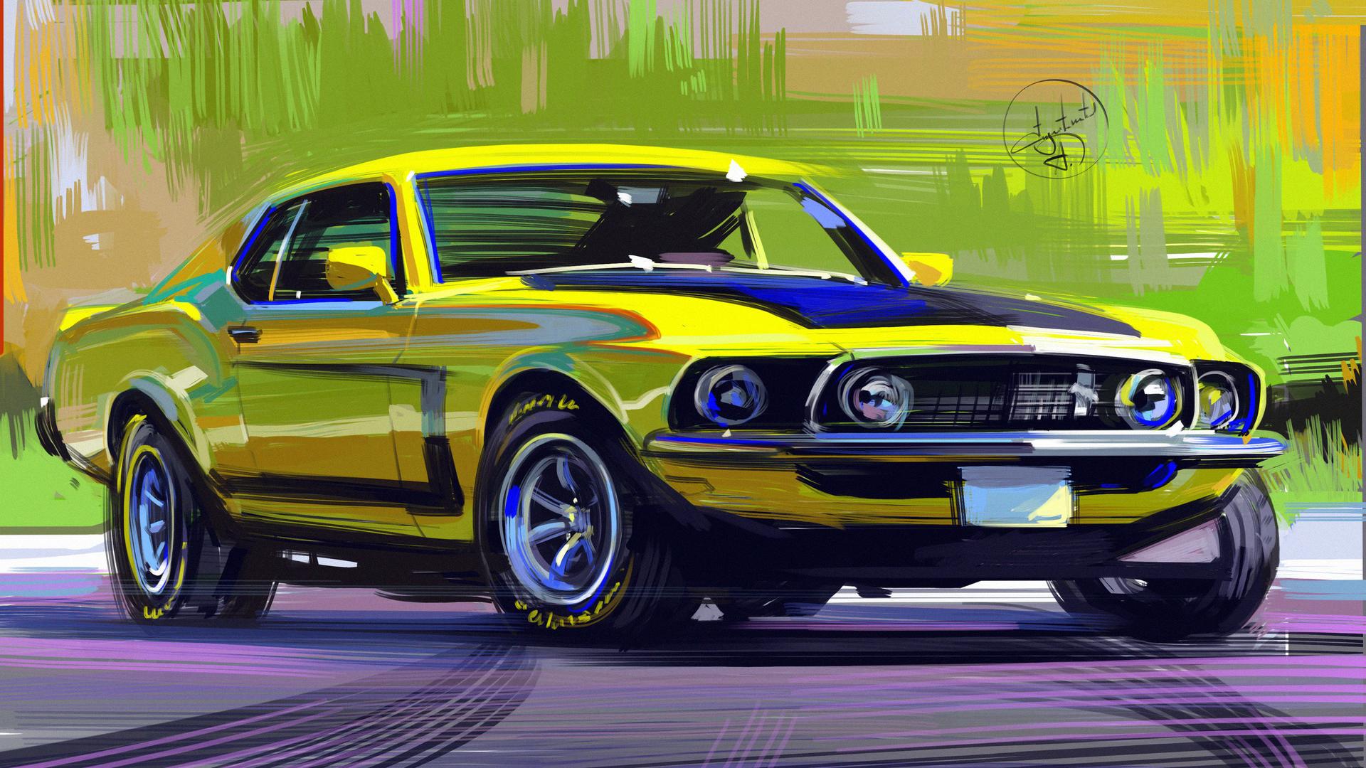 General 1920x1080 artwork Aleksandr Sidelnikov digital art Mustang (Car) yellow cars Ford Mustang car