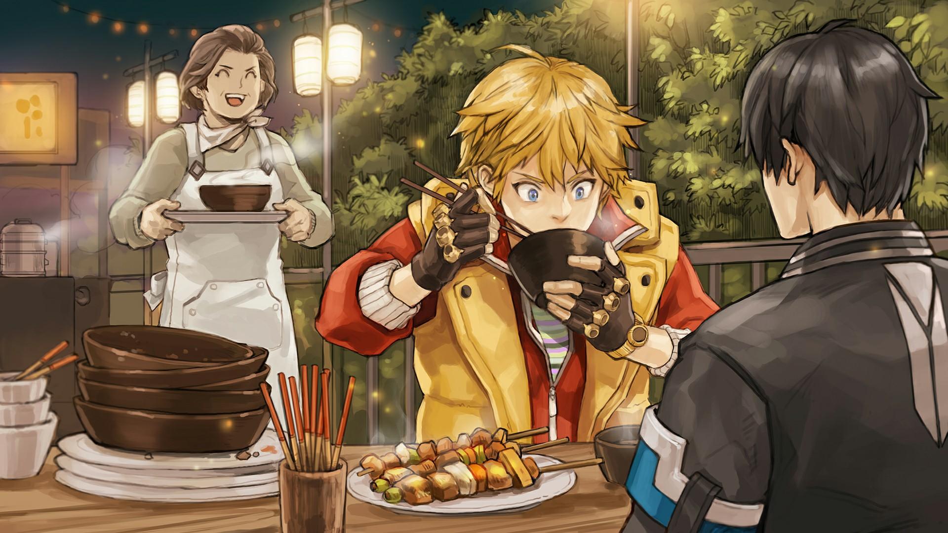 Anime 1920x1080 TROUBLESHOOTER food kebabs blonde Japan waitress bowls chopstick jacket clothes video games black hair dark hair brunette apron trees lights