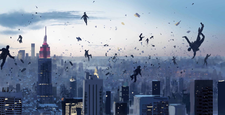 General 2837x1456 floating city debris bikes skyscraper clouds Gravity cityscape falling