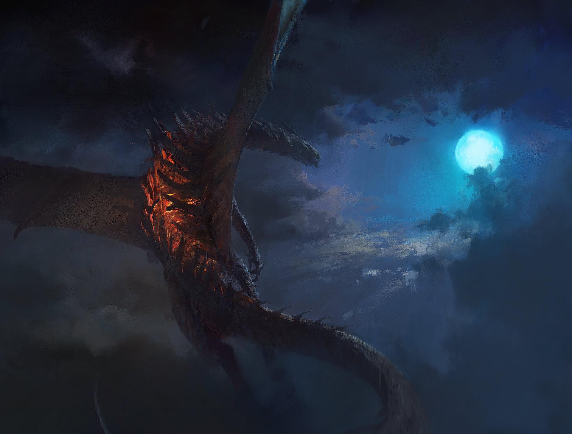 General 1920x1457 artwork dragon Moon sky clouds night fantasy art
