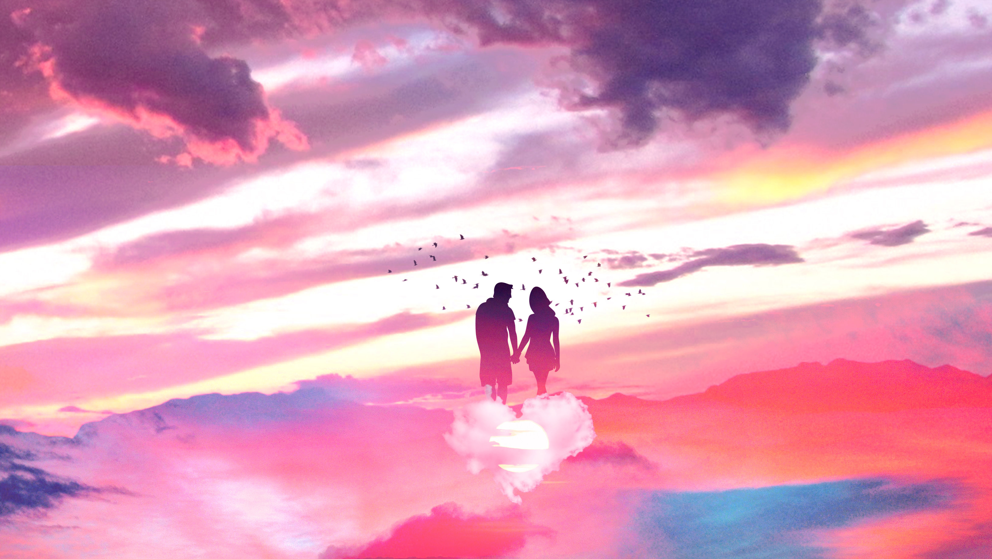 General 3262x1838 digital digital art artwork fantasy art Photoshop photo manipulation retouching surreal silhouette nature landscape sky skyscape clouds pink pink clouds Sun outdoors women men couple floating love romance heart sunset birds