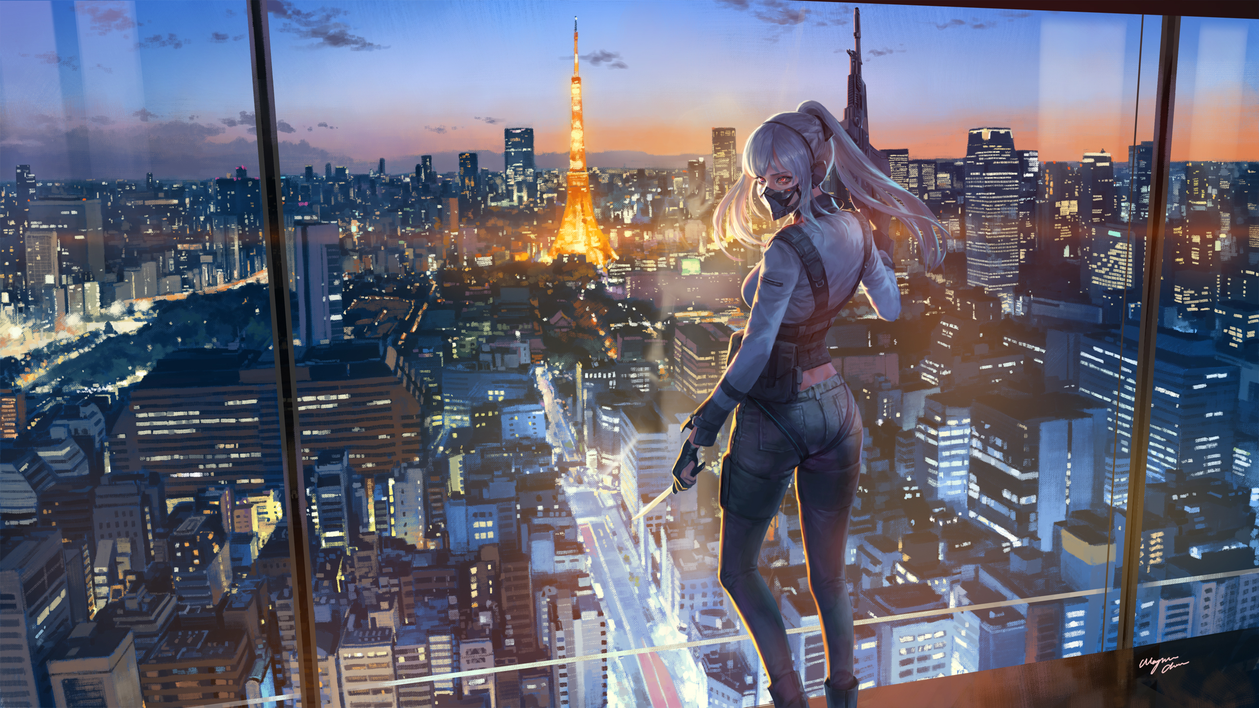 Anime 2560x1440 Girls Frontline city weapon machine gun gun artwork women mask night city lights