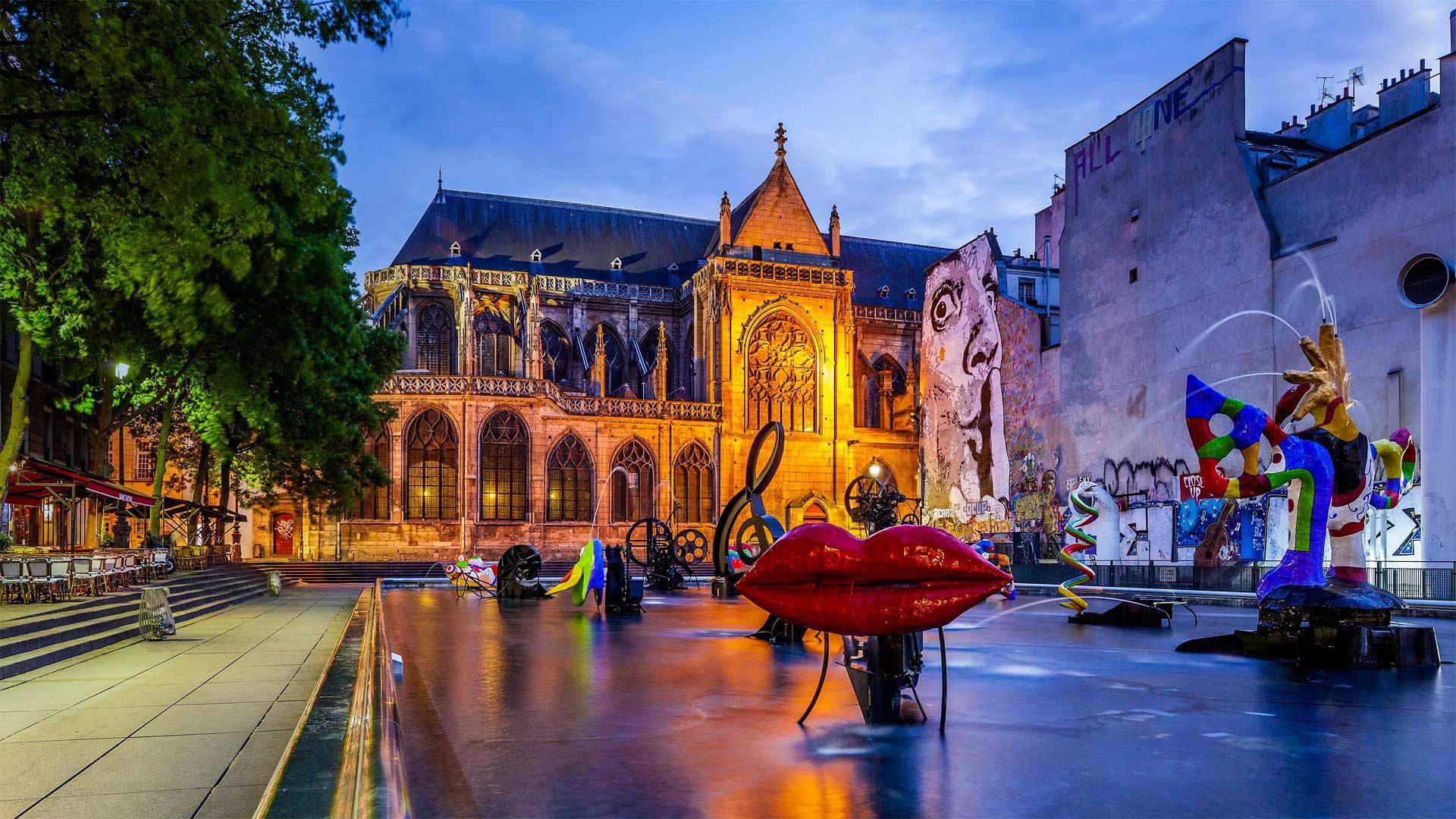 General 1920x1080 church France Paris city fountain