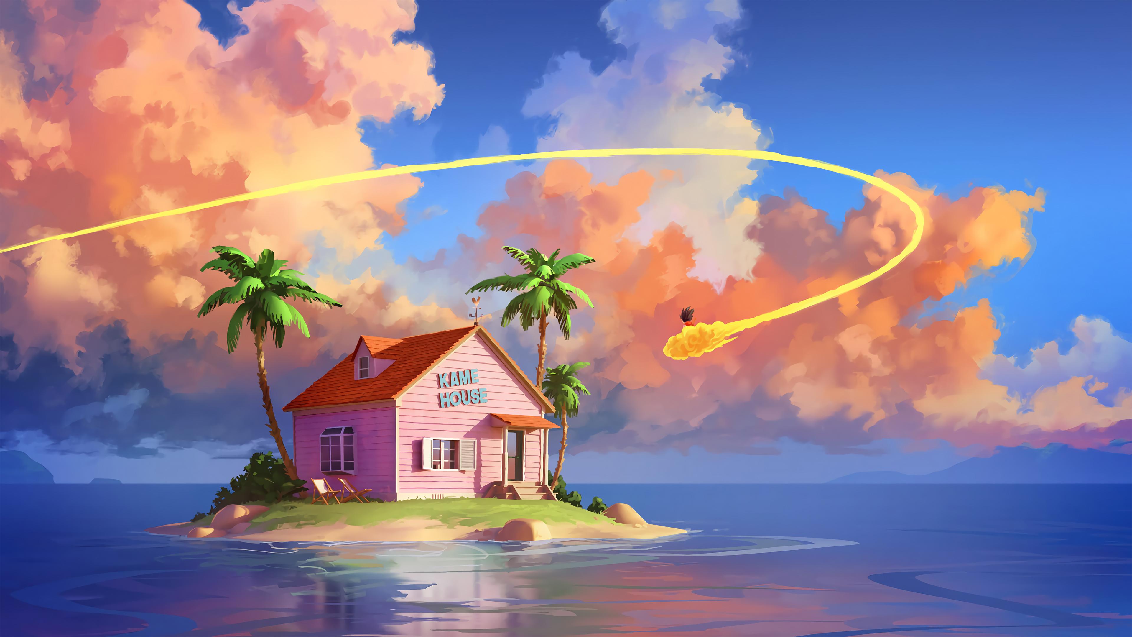 Anime 3840x2160 digital art Son Goku Dragon Ball island anime clouds sea palm trees house water Sylvain Sarrailh