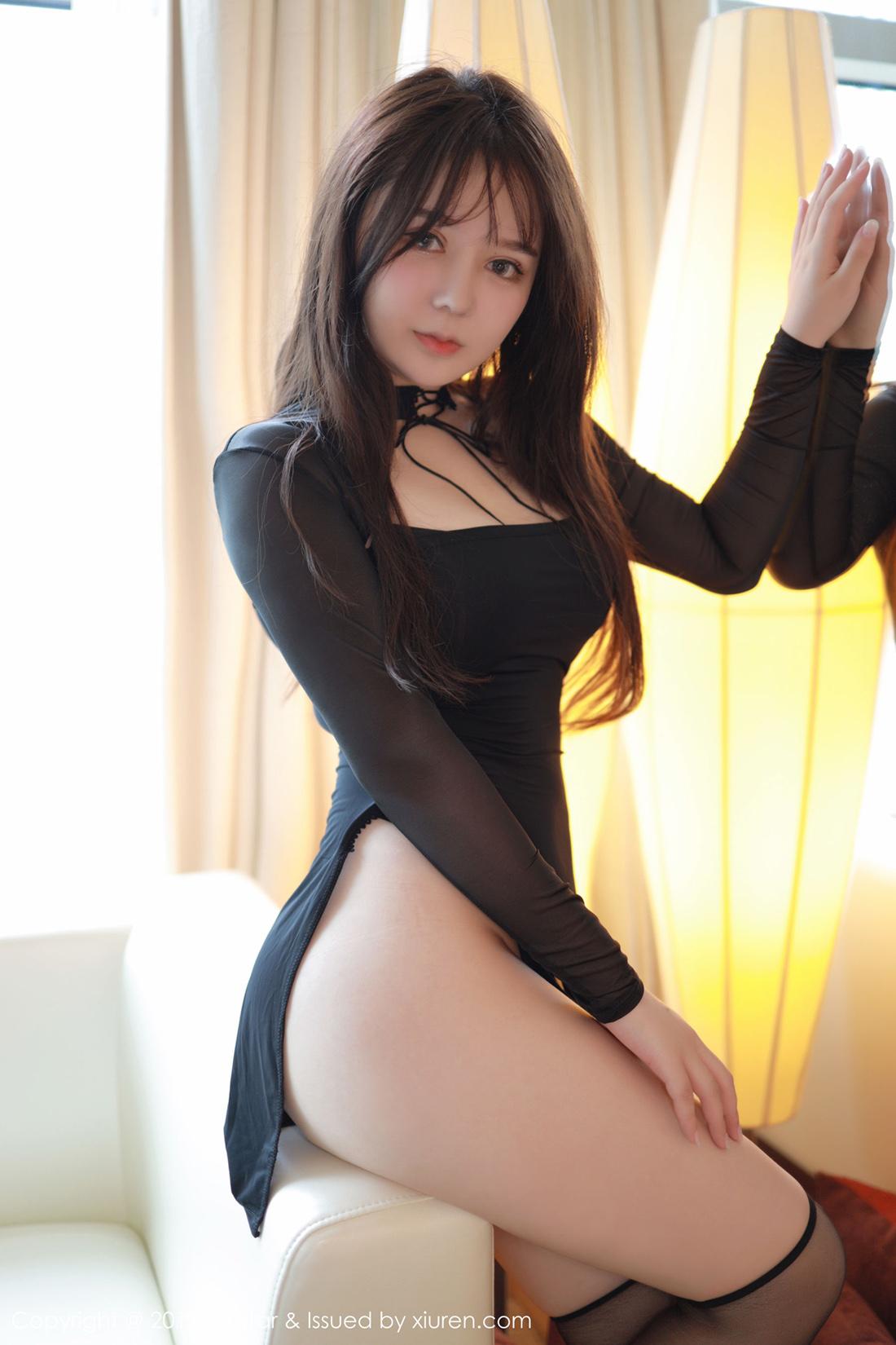 People 1100x1650 women model Asian legs stockings black clothing black dress brunette long hair sitting women indoors dark hair Xiuren
