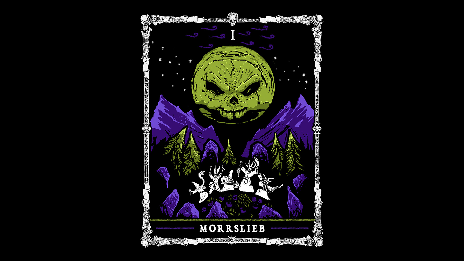 General 1920x1080 Warhammer Warhammer Fantasy WFRP tarot Moon forest Morrslieb stars skull Table Top RPG Roleplaying