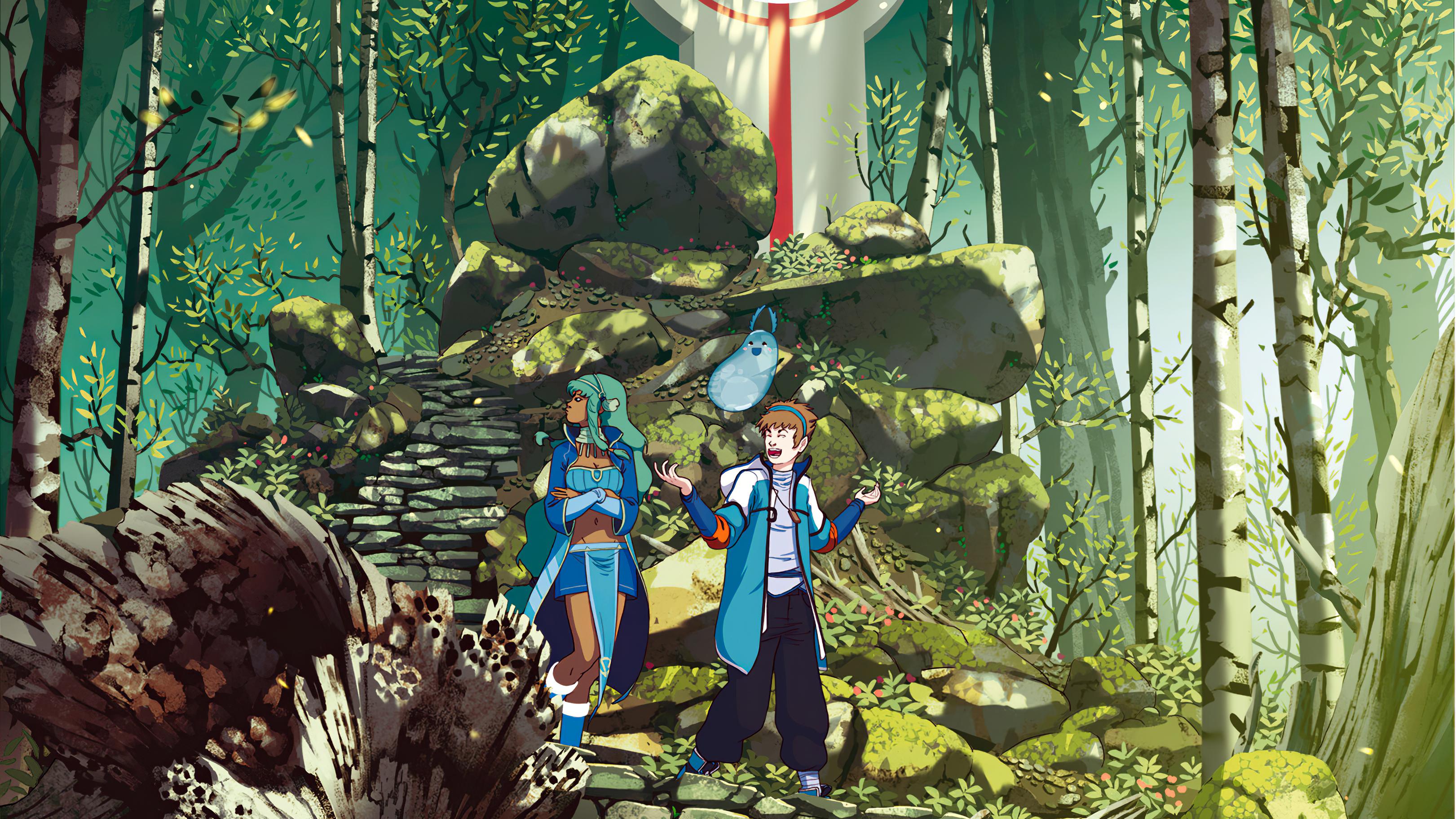 Anime 3242x1824 Lorenzo Lanfranconi artwork digital art Chiara Zuliani forest stairs