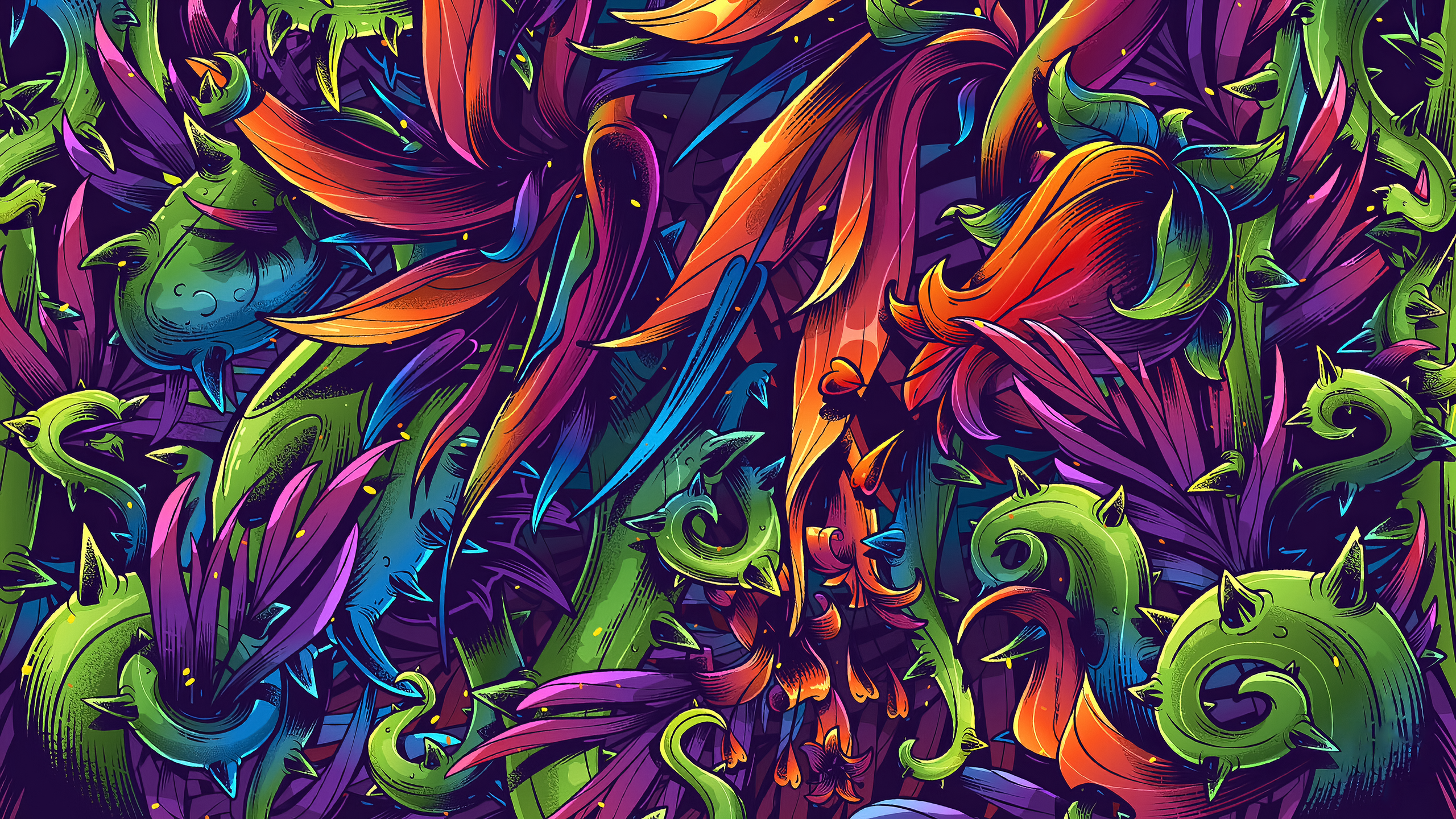 General 2560x1440 artwork colorful digital art abstract leaves plants Yaroslav Slavinskiy thorns
