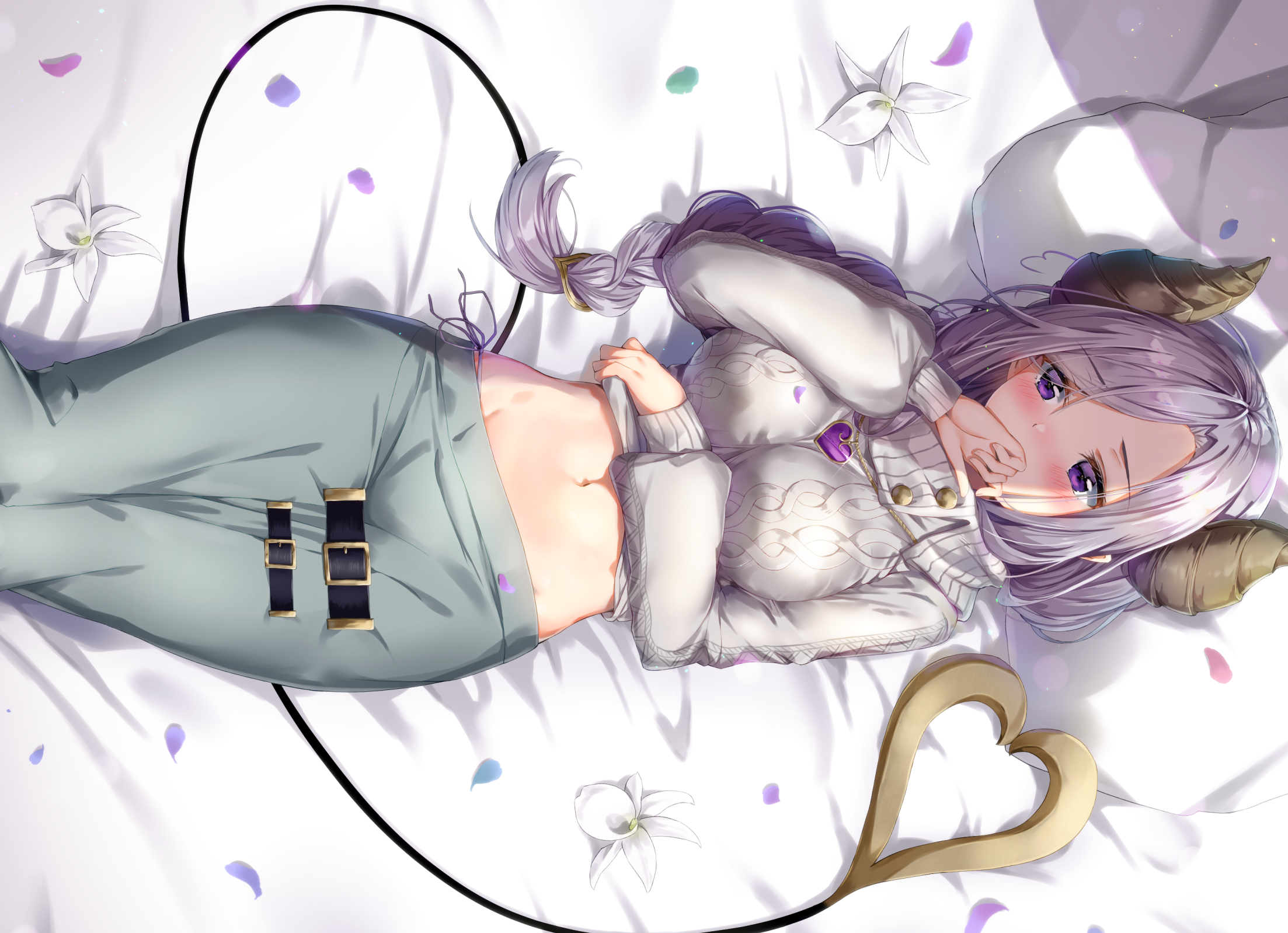 Anime 2206x1598 Honey Strap tail horns bed belly blush purple hair short hair flowers purple eyes petals in bed sweater anime girls Kuria Saionji Mary (Honey Strap)