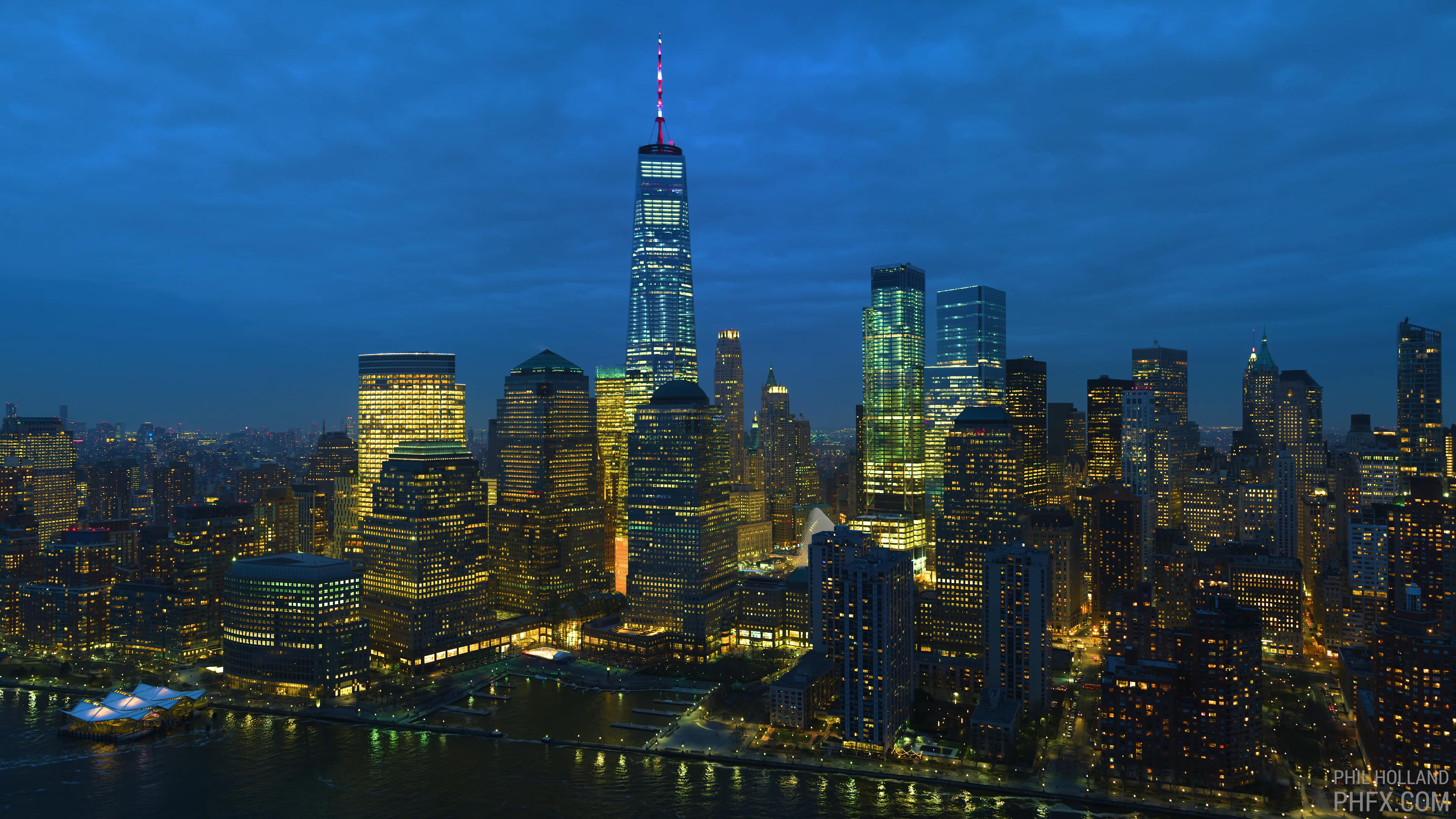 General 7680x4320 New York City lights sea building sky skyscape skyscraper