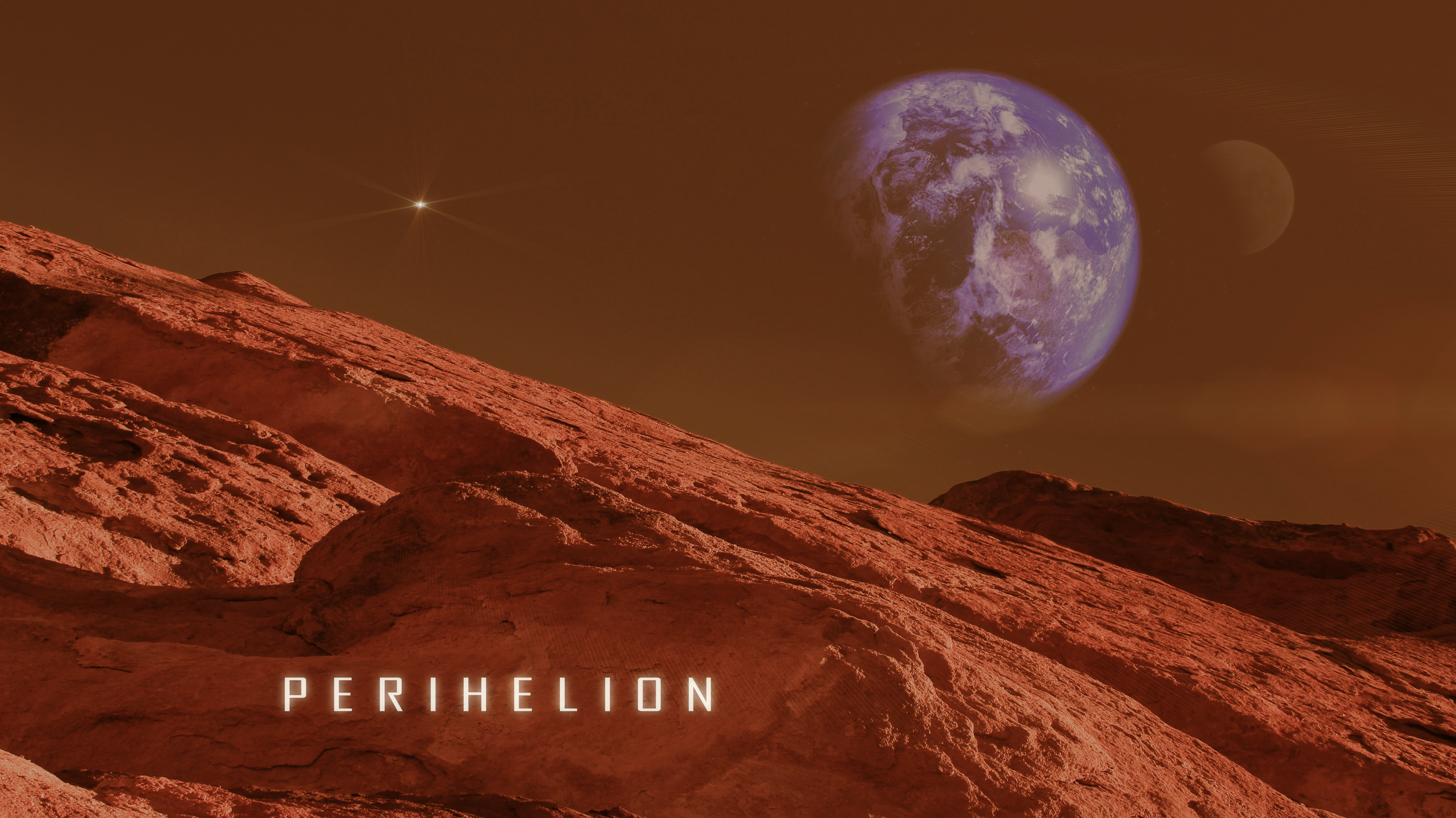 General 5184x2912 red planet universe space Earth Moon stars Mars Core rocks photography graphic design digital digital art nature sun rays space travel Mars Perihelion fantasy art Rock wall dreamscape galaxy mountains