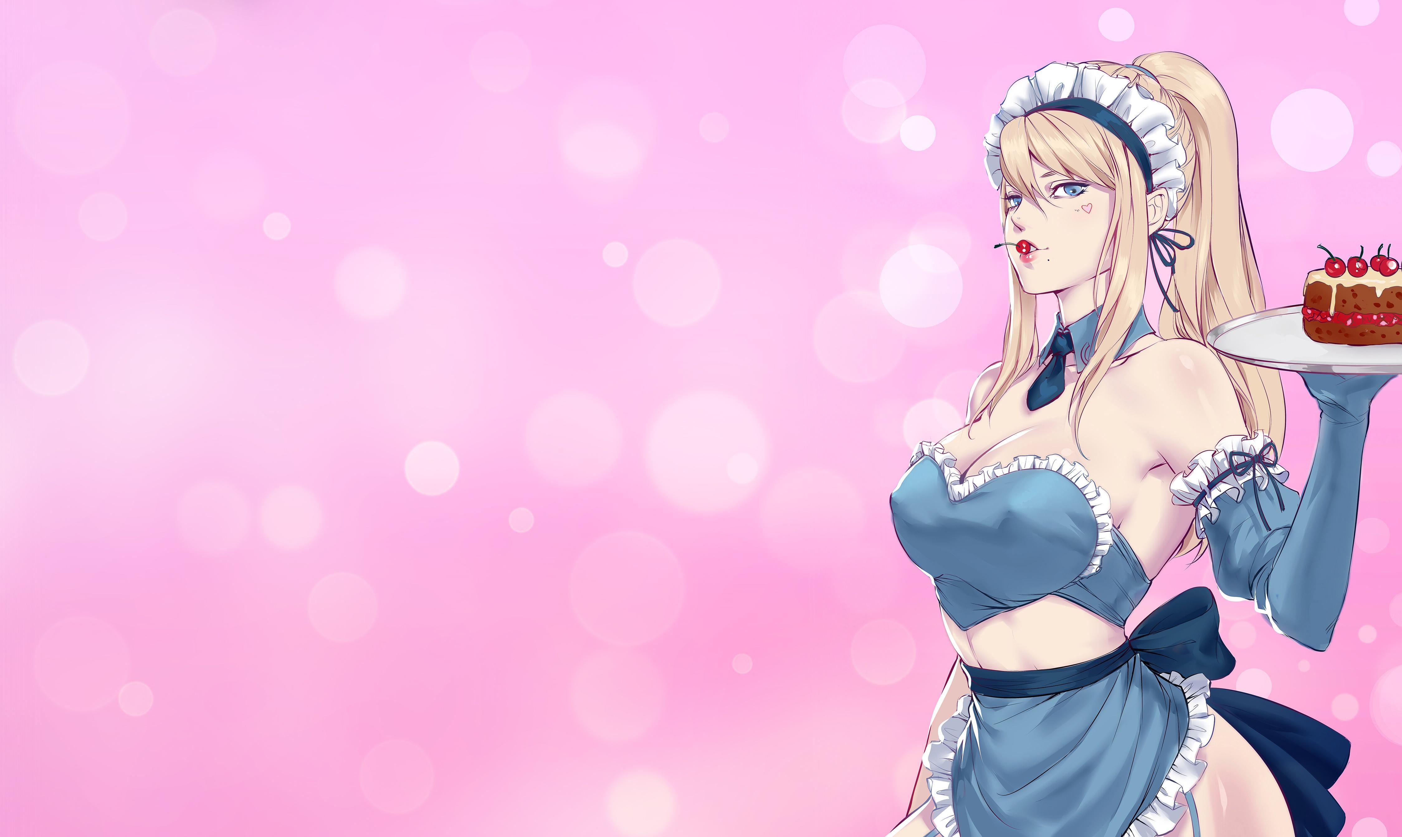 Anime 4500x2688 big boobs blonde anime girls anime cake cherries blue eyes pink background