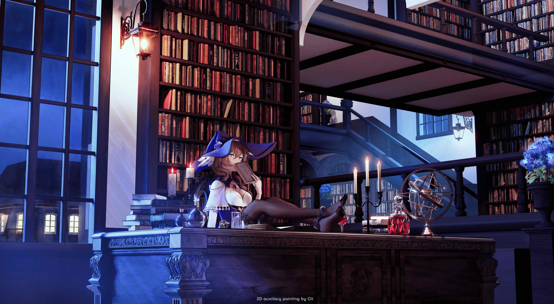 Anime 6000x3300 anime anime girls digital art artwork 2D portrait library night Genshin Impact Lisa (Genshin Impact) books bookshelf bookshelves desk candles lantern