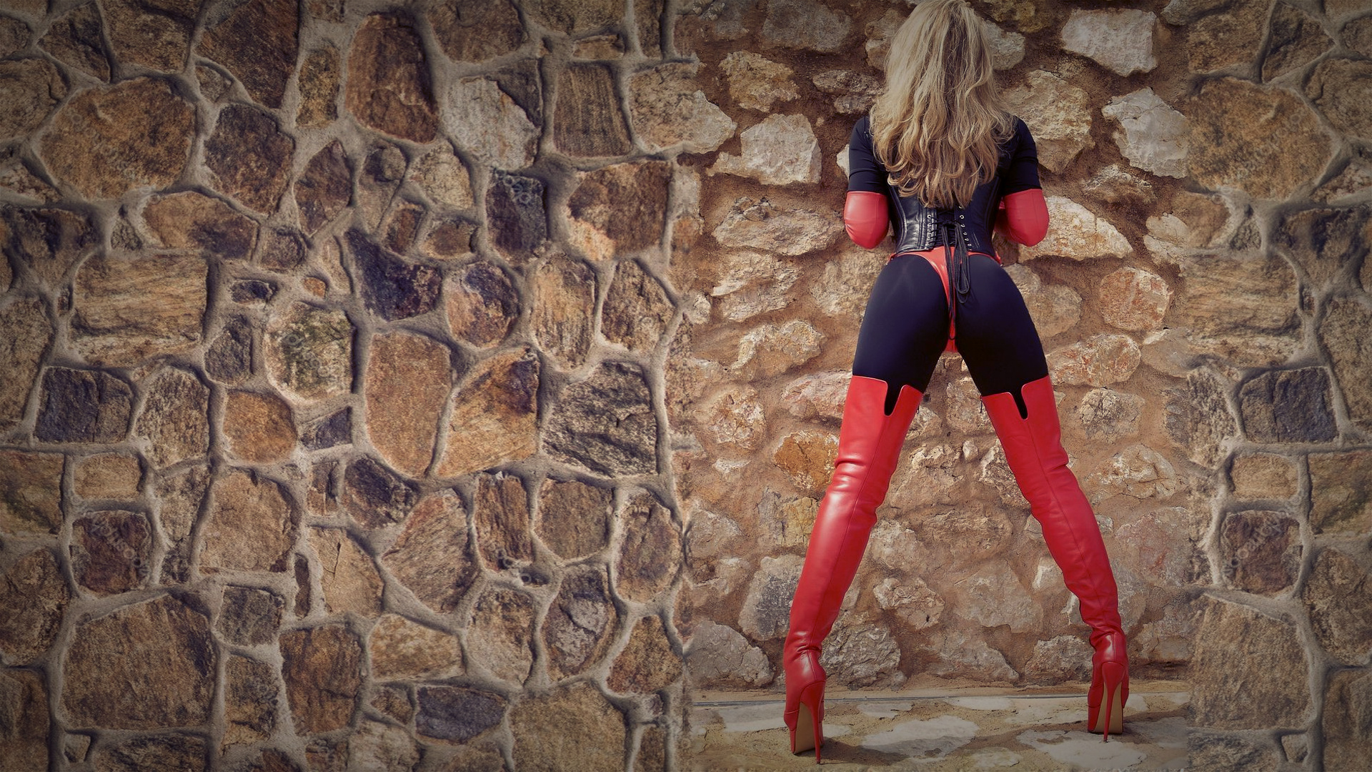 People 1920x1080 blonde women boots corset leggings thigh high boots high heeled boots