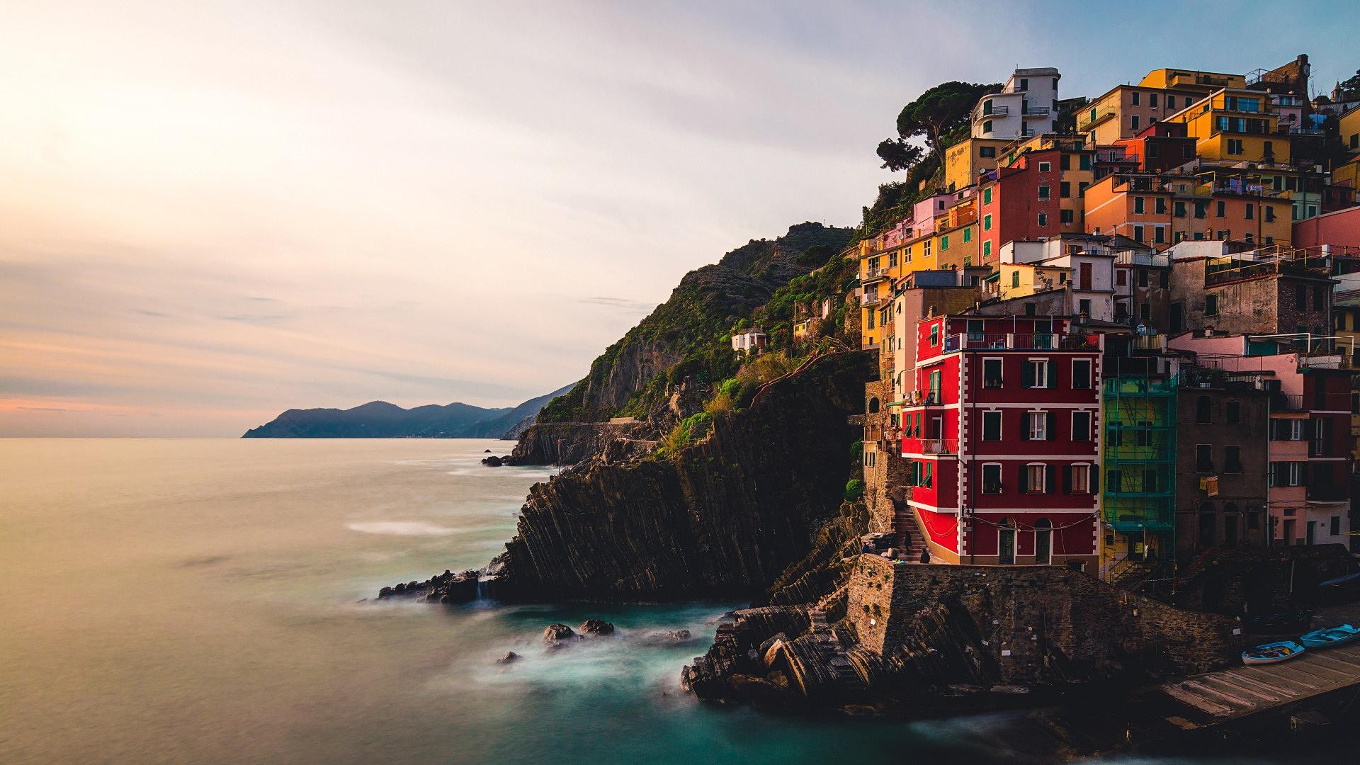 General 1920x1080 house rocks sea sunset Italy Riomaggiore cityscape landscape coast