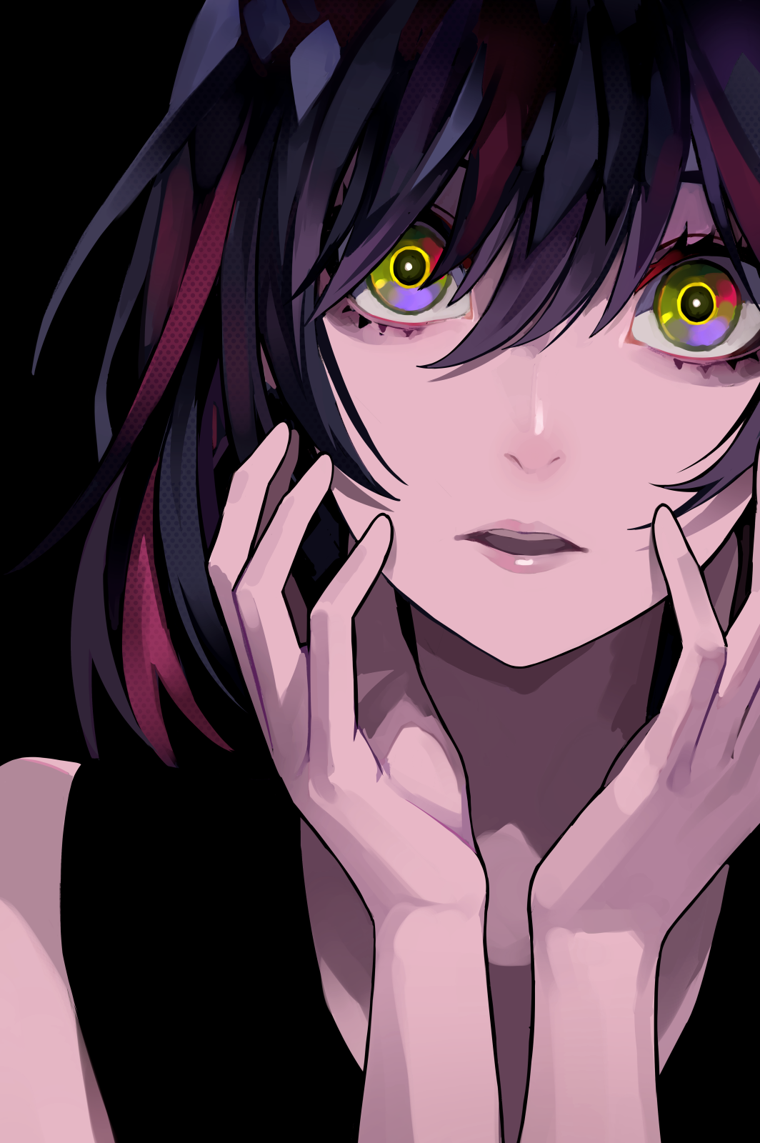Anime 1064x1600 anime girls anime original characters dark hair shoulder length hair looking at viewer open mouth touching face portrait display black background dark artwork 2D digital art drawing LAM