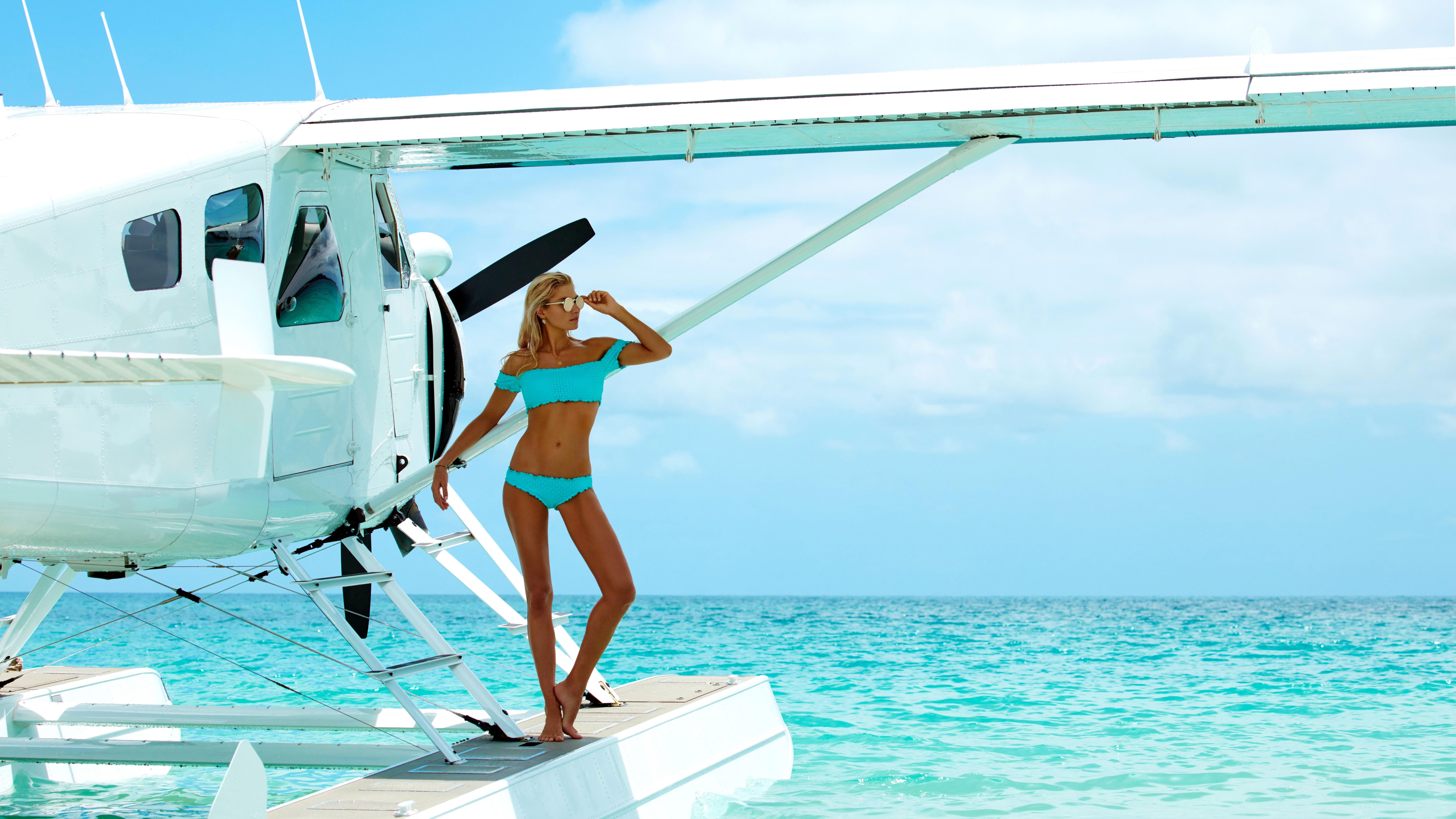 People 7680x4320 Jessica Hart bikini Seaplane sunglasses women with shades belly belly button model women