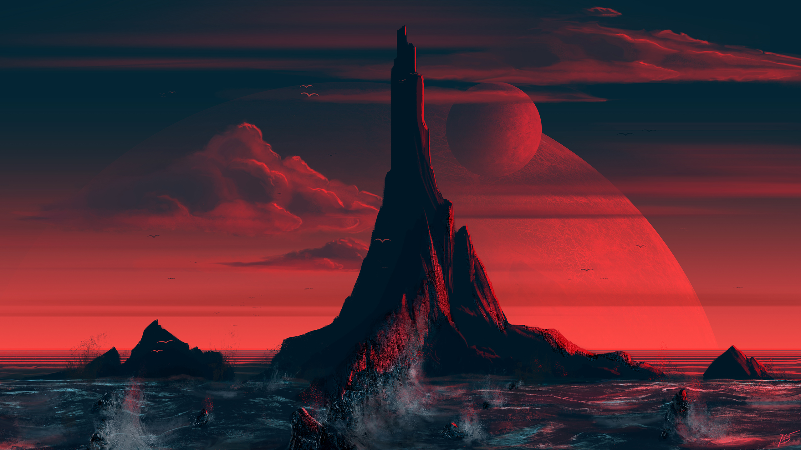 General 2560x1440 island landscape digital art JoeyJazz sea artwork clouds dark