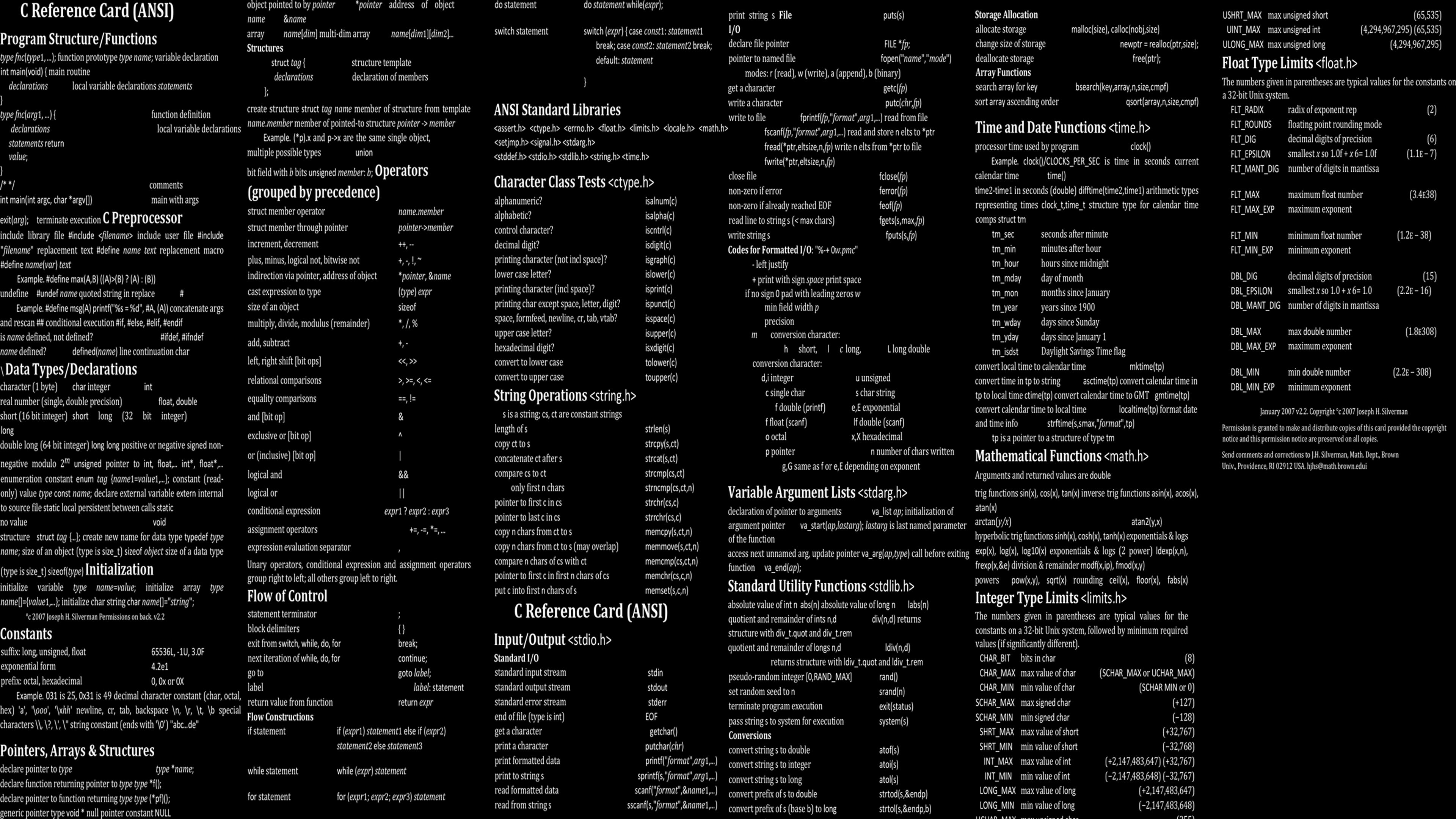 General 3840x2160 code programming programming language technology cheat sheet RPG