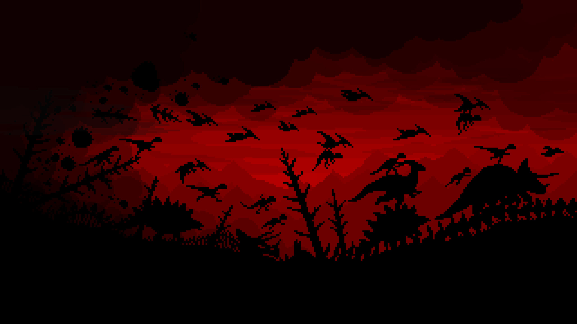 General 1920x1080 nature landscape digital art artwork trees prehistoric dinosaurs pixelated pixels pixel art