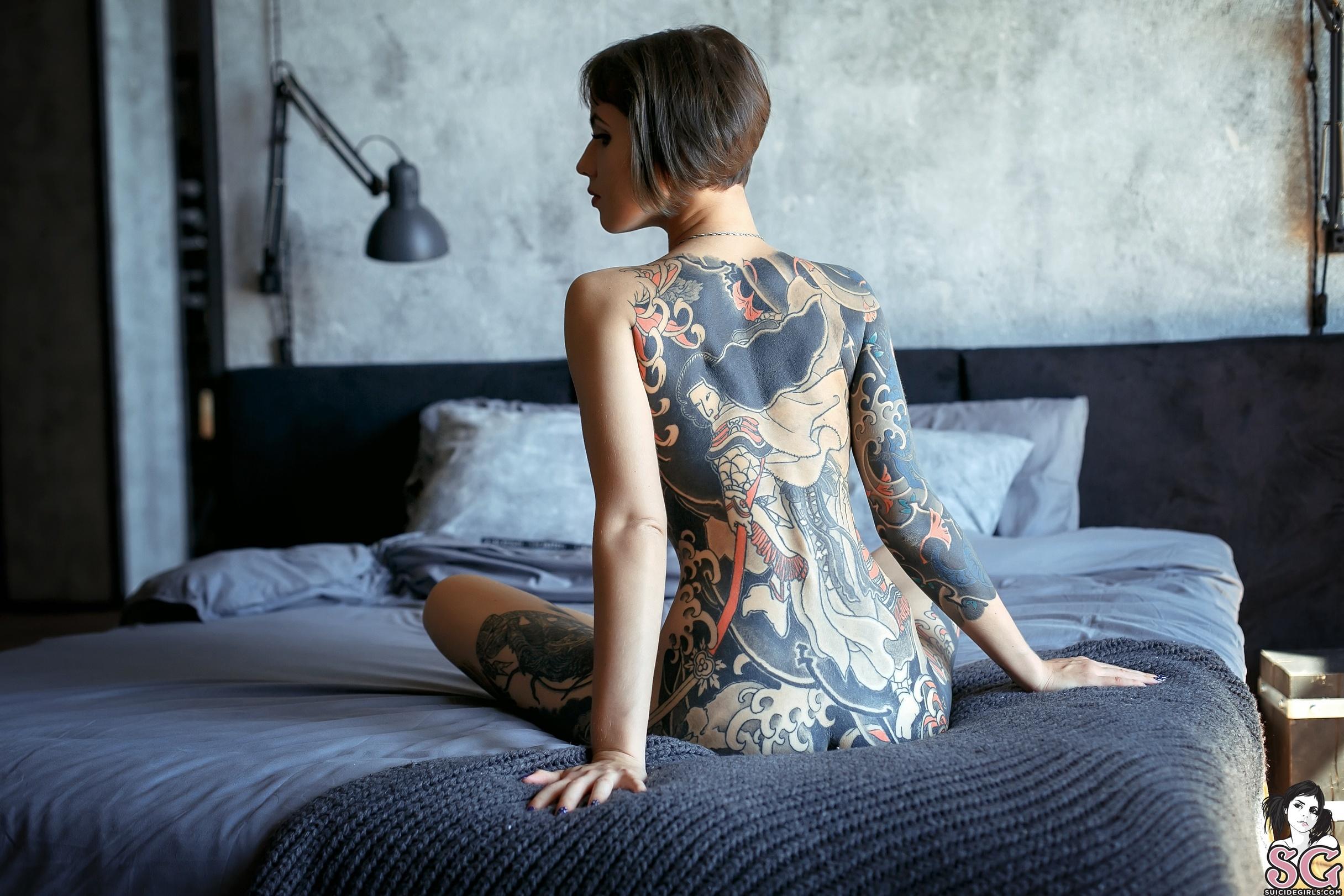 women, short hair, inked girls, in bed, Sagyansh Suicide